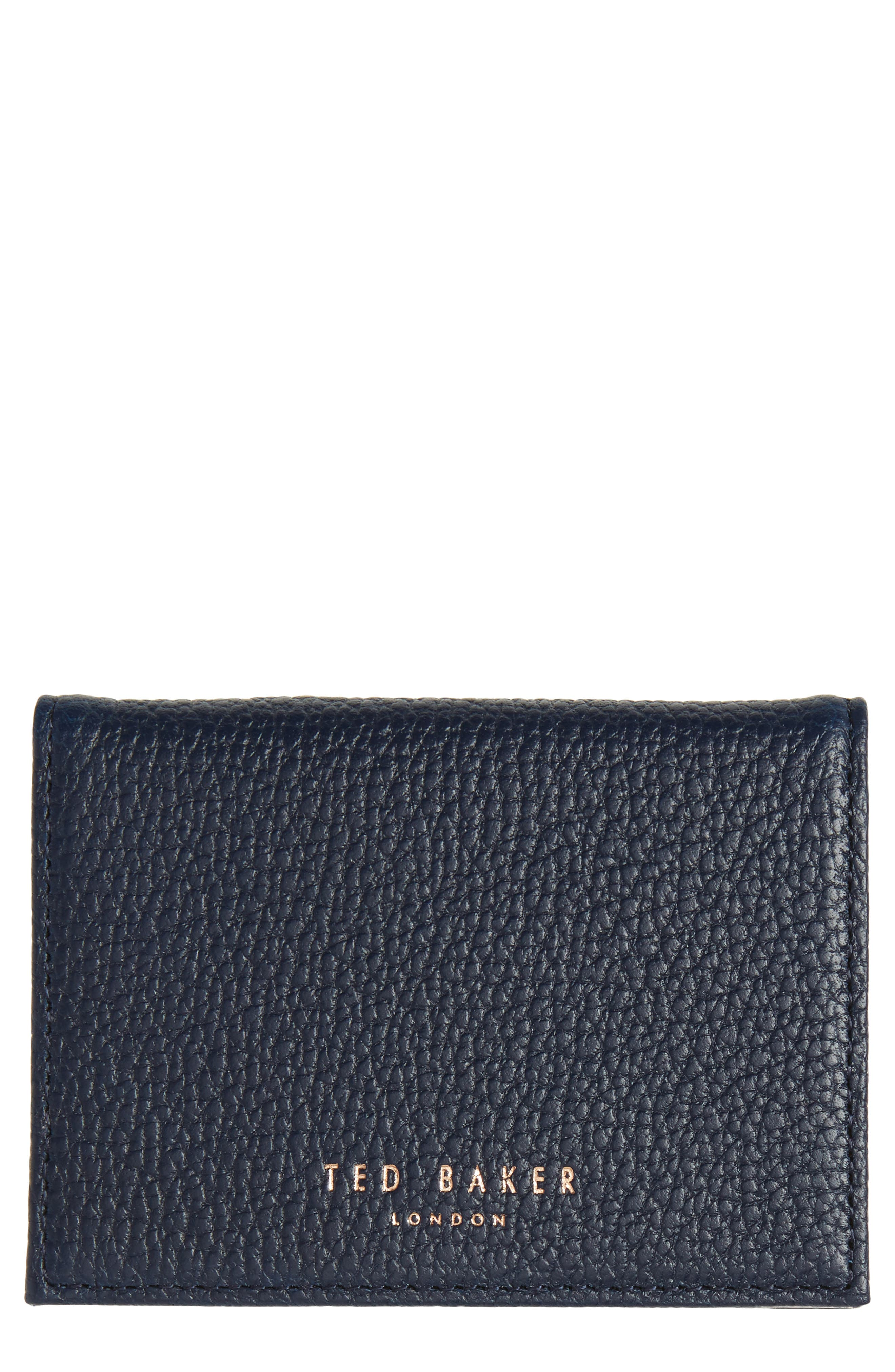 Braylon Pebbled Leather Card Case,                         Main,                         color, Navy