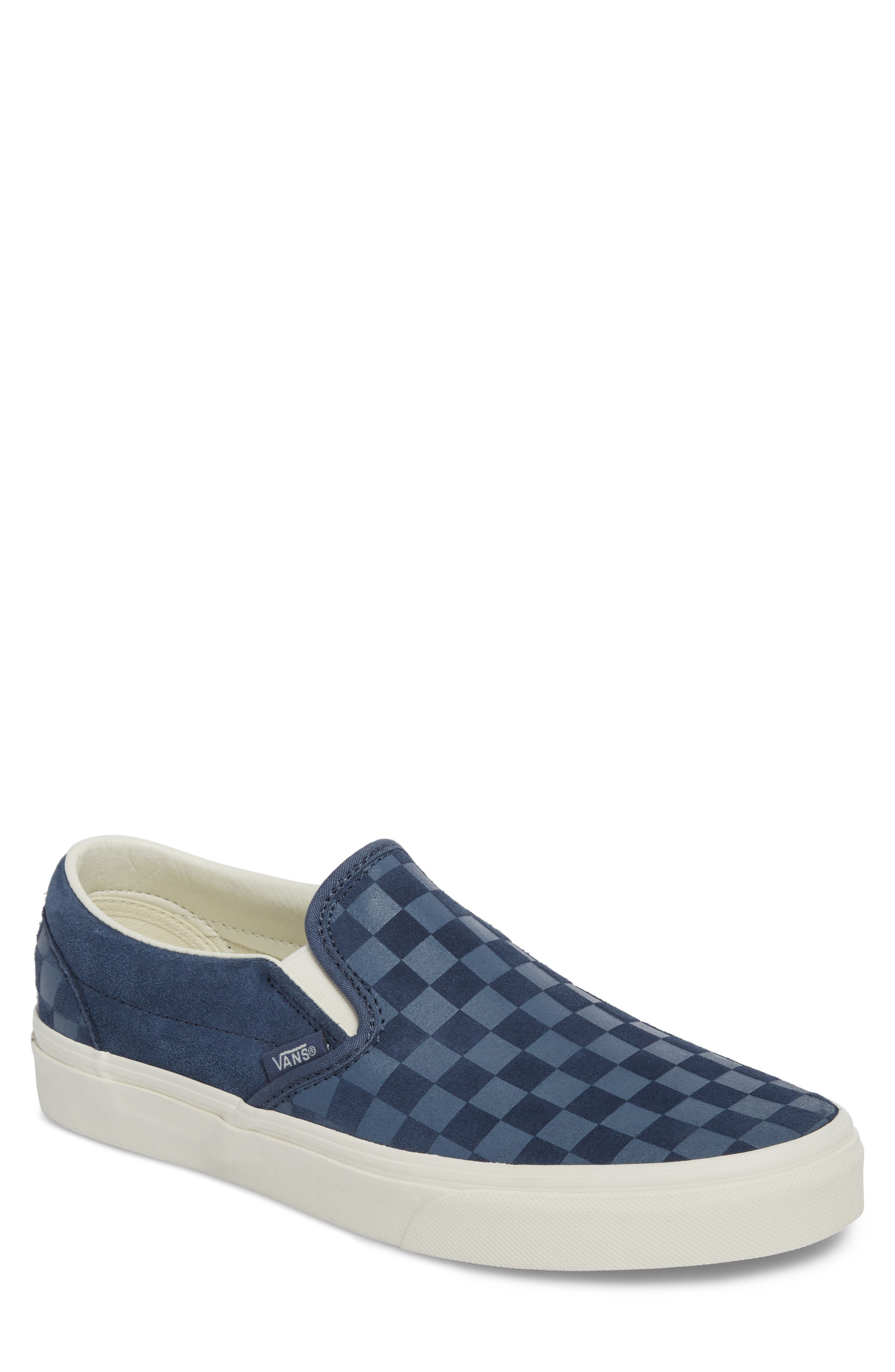 Classic Slip-On Sneaker,                             Main thumbnail 1, color,                             Indigo/ Marshmallow Leather