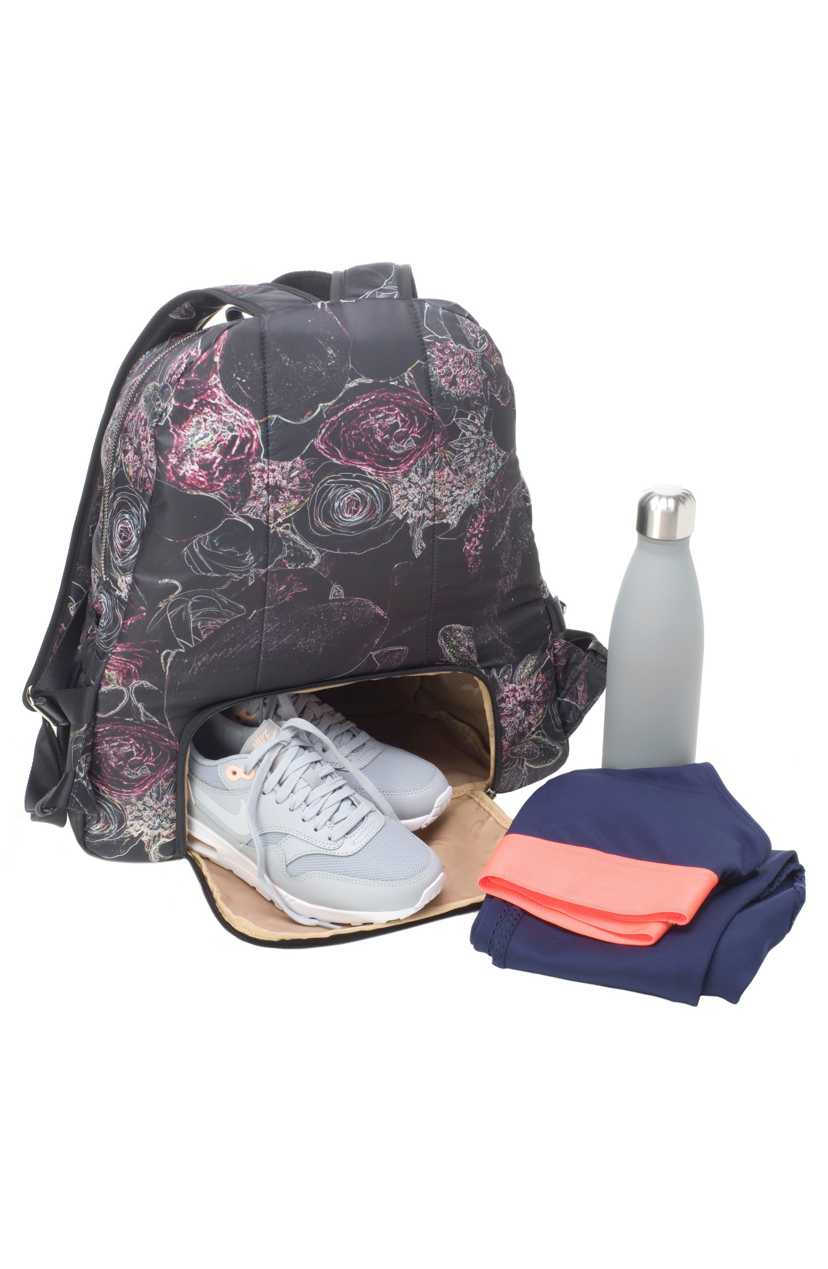 Hero Water Resistant Nylon Backpack Diaper Bag,                             Alternate thumbnail 14, color,                             Neon Floral