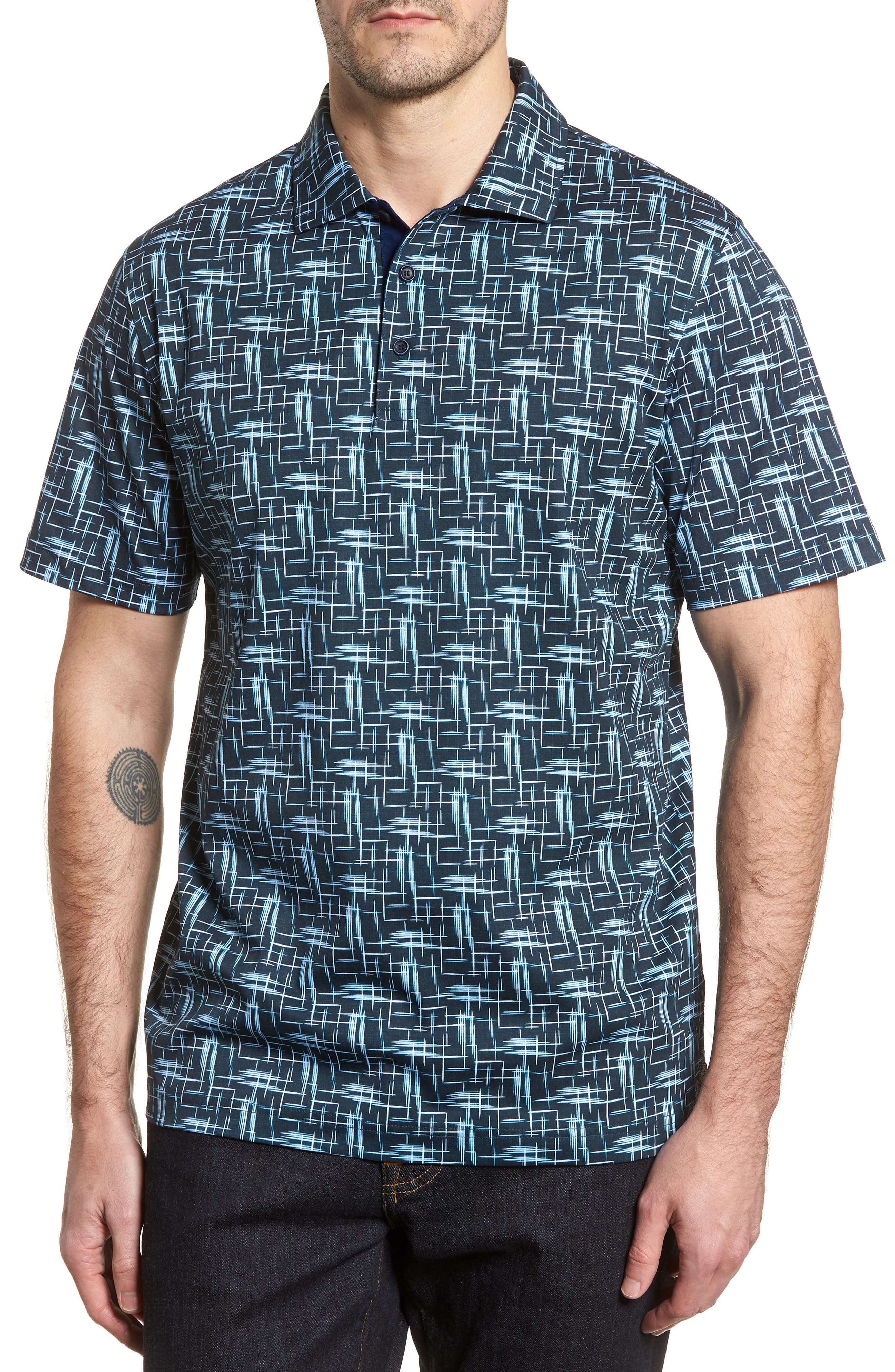 Classic Fit Broken Lines Polo,                         Main,                         color, Navy