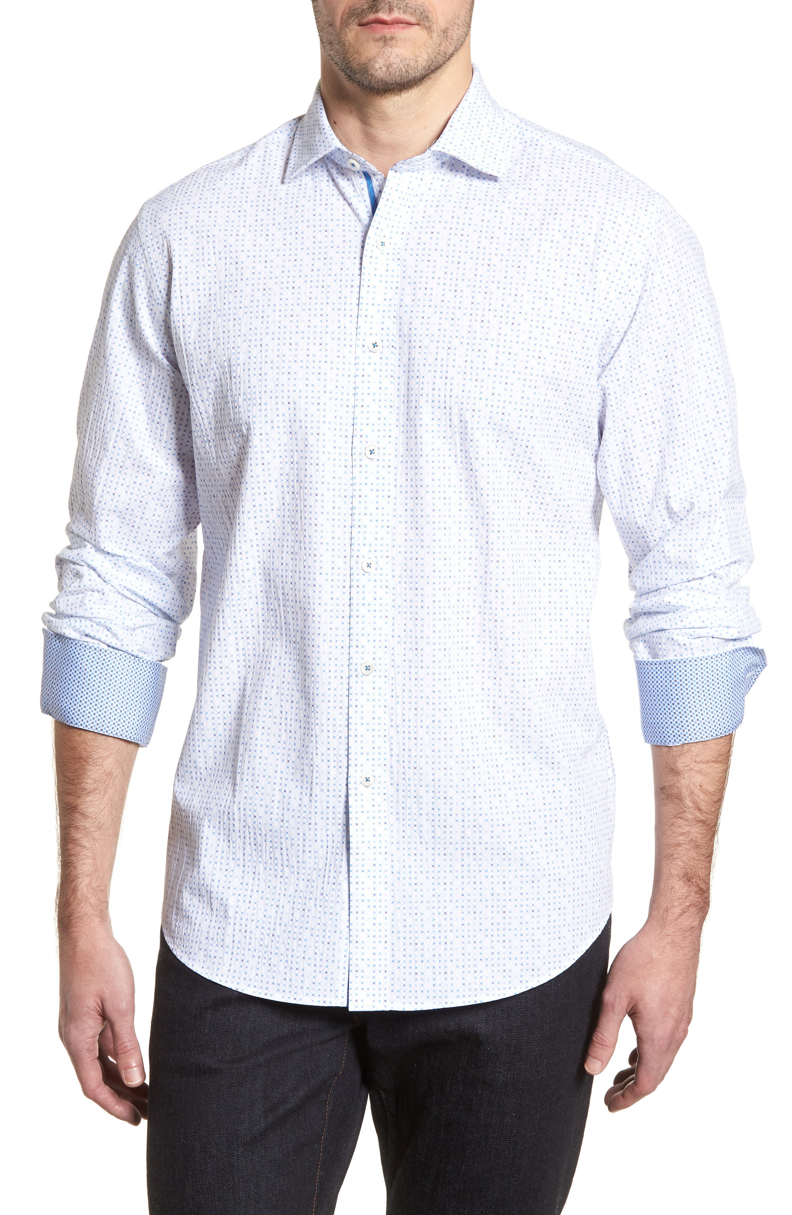 Classic Fit Petit Point Print Sport Shirt,                             Main thumbnail 1, color,                             White