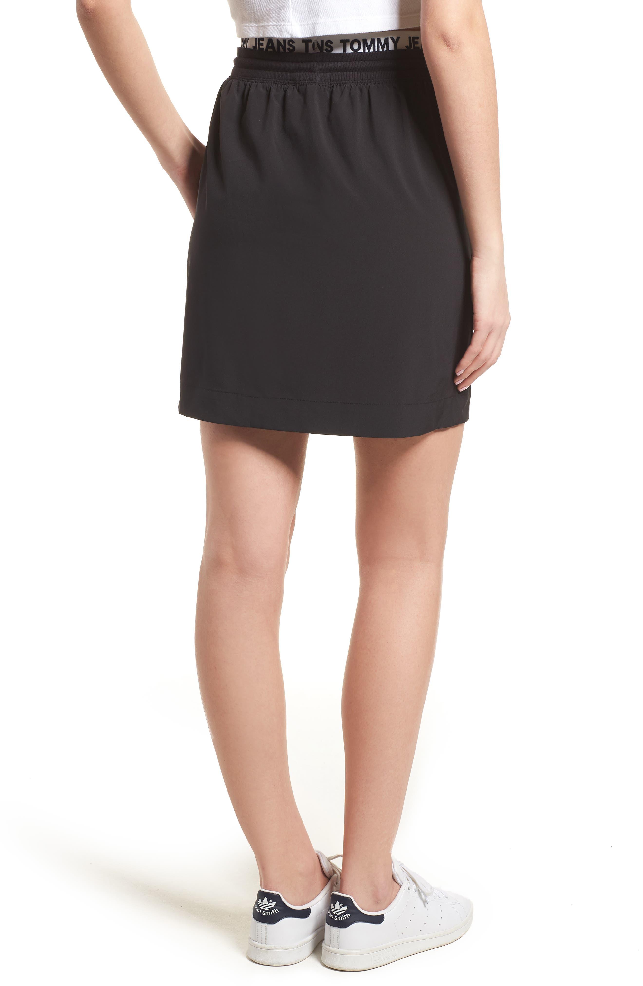 Logo Waistband Skirt,                             Alternate thumbnail 2, color,                             Tommy Black