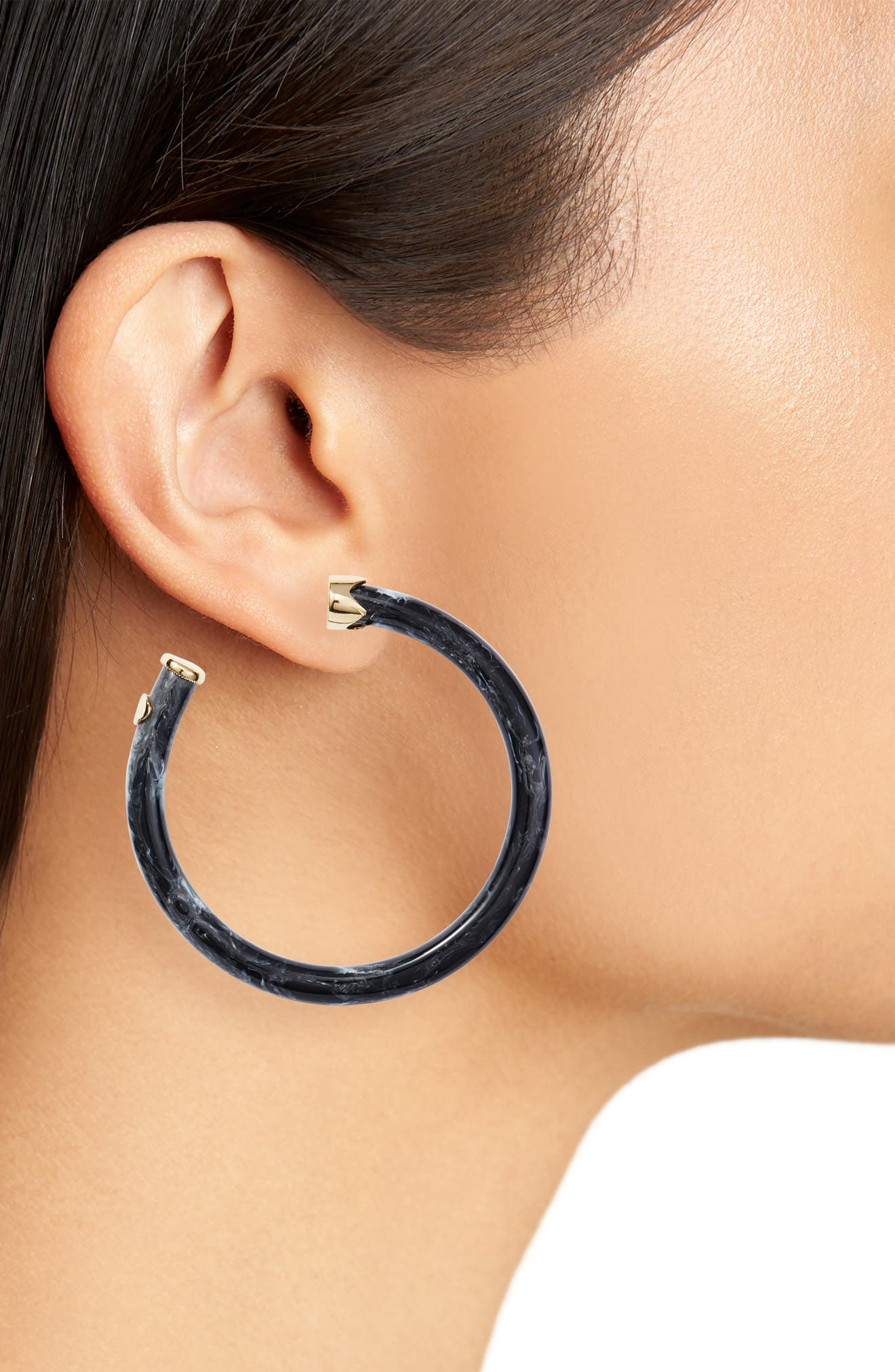 Marbleized Hoop Earrings,                             Alternate thumbnail 2, color,                             Gold/ Black