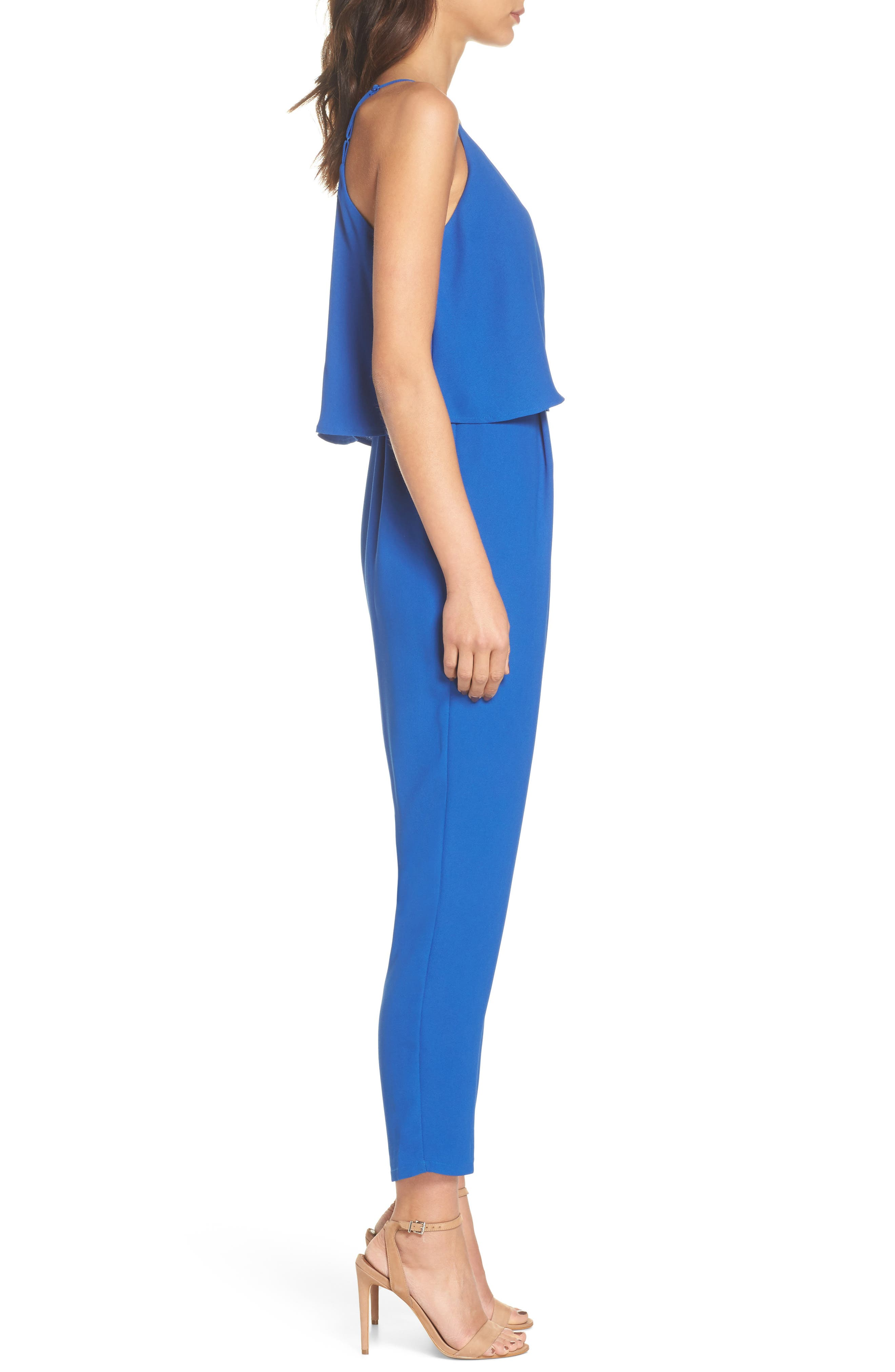 Deep V-Neck Sleeveless Jumpsuit,                             Alternate thumbnail 3, color,                             Cobalt
