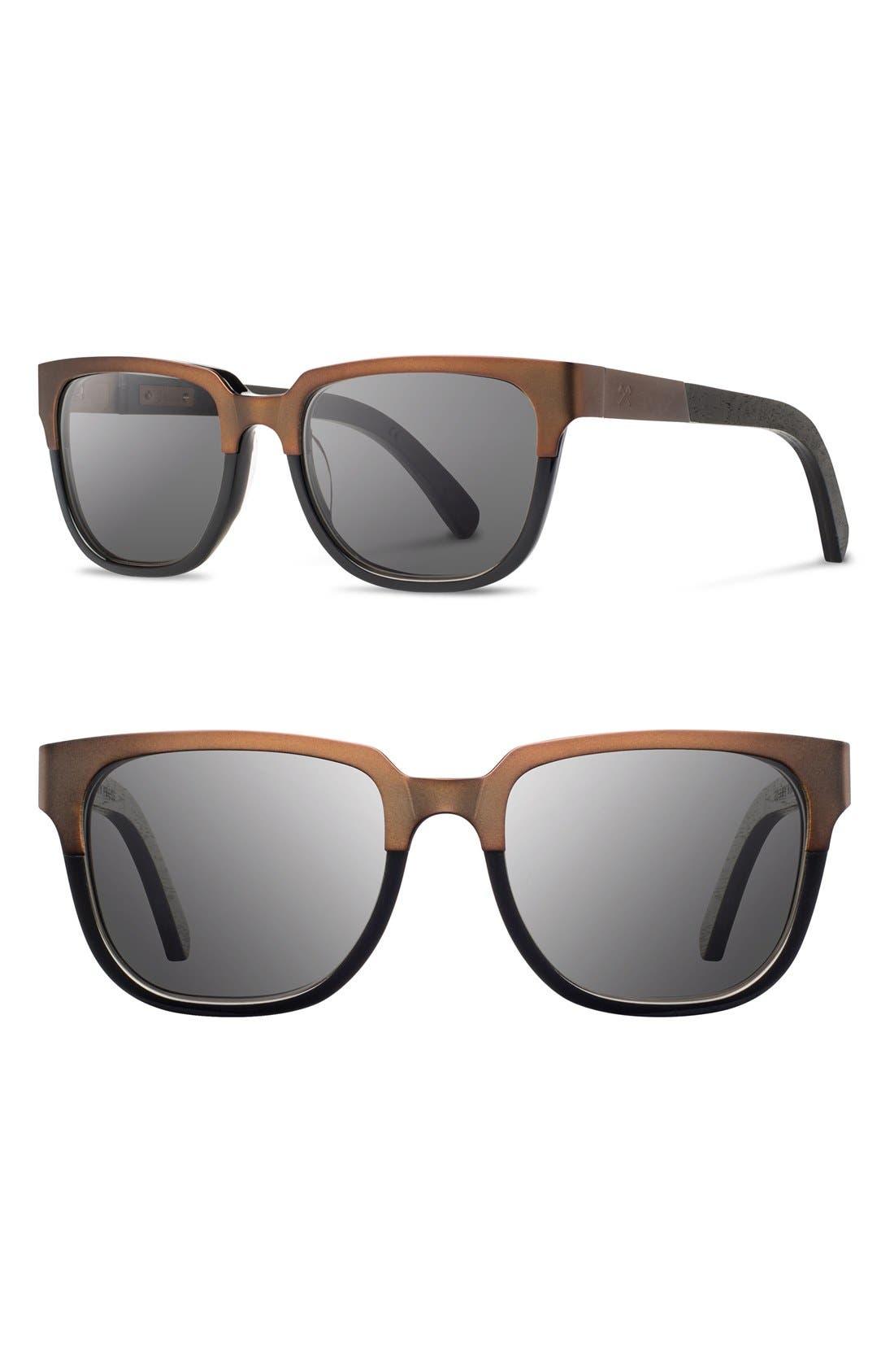 'Prescott' 52mm Titanium & Wood Sunglasses,                         Main,                         color, Bronze Titanium/ Black/ Grey