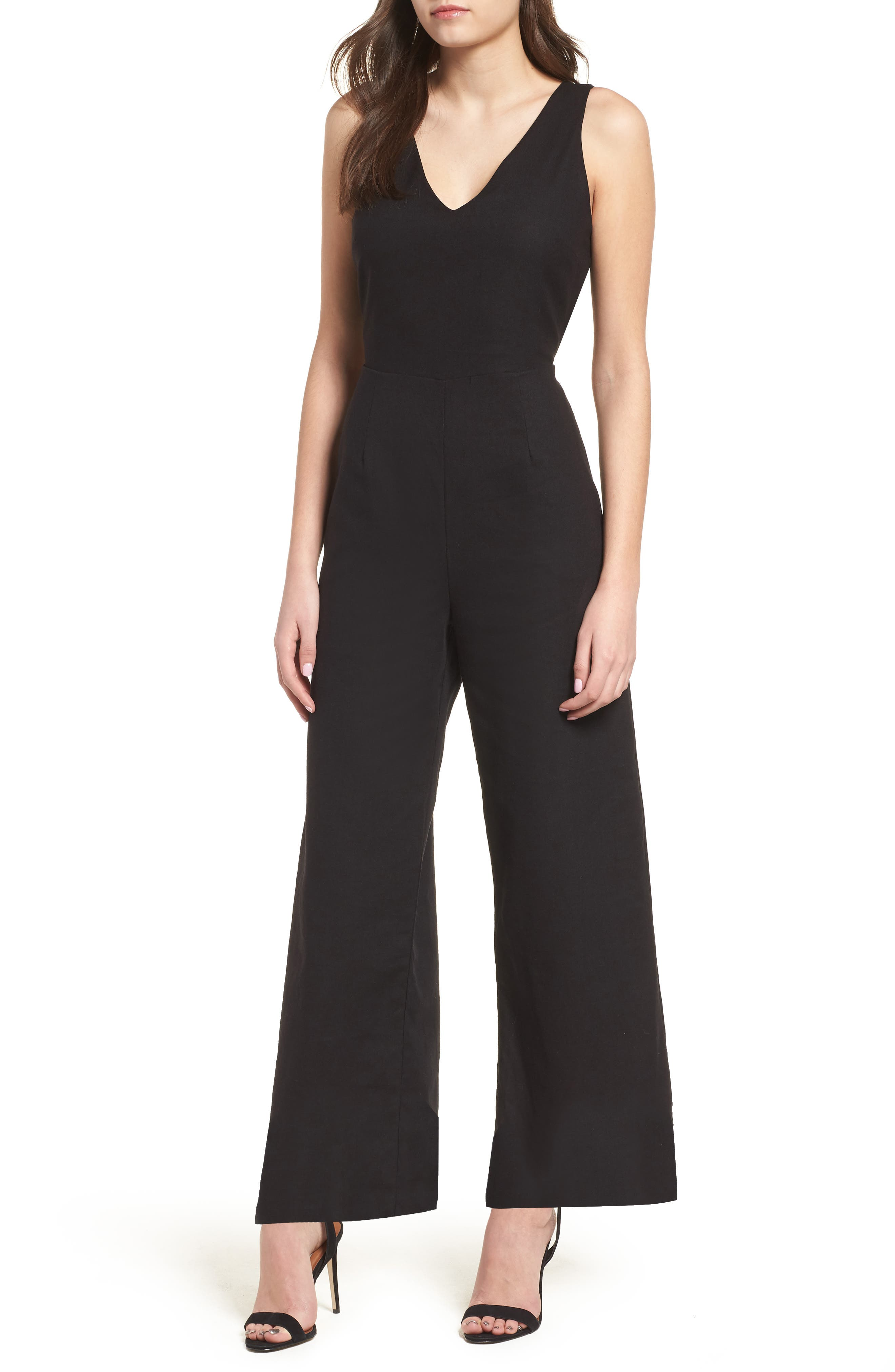 Crop Wide Leg Jumpsuit,                             Main thumbnail 1, color,                             Black