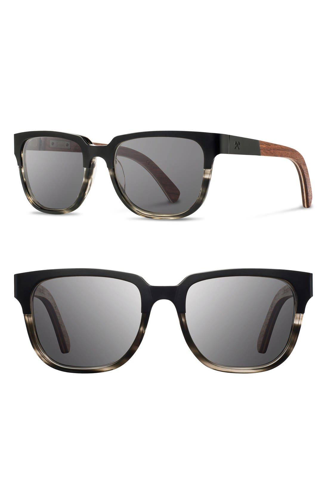 SHWOOD Prescott 52mm Titanium & Wood Sunglasses