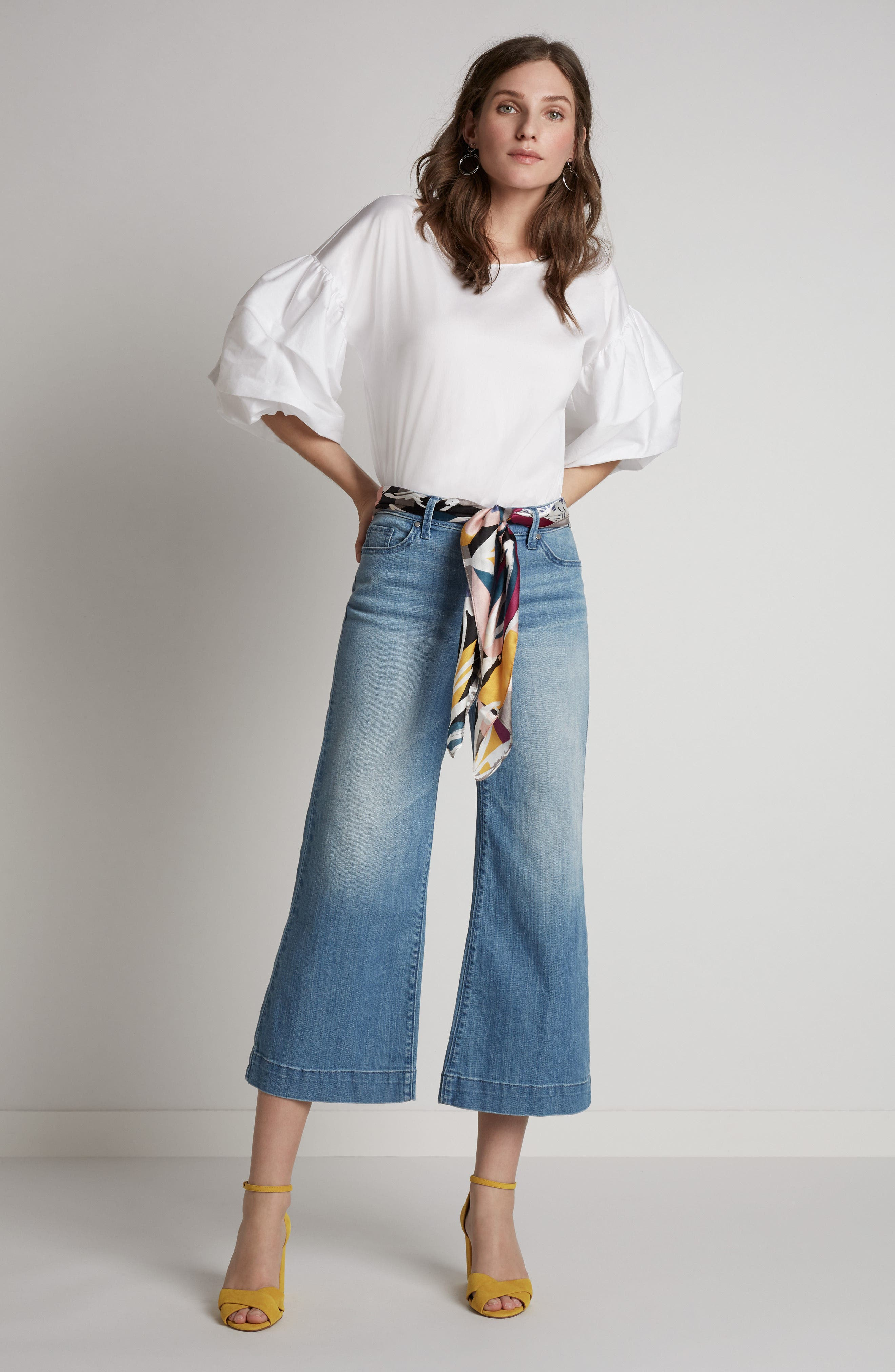 Wide Leg Cropped Jeans,                             Alternate thumbnail 2, color,                             Modern Wash