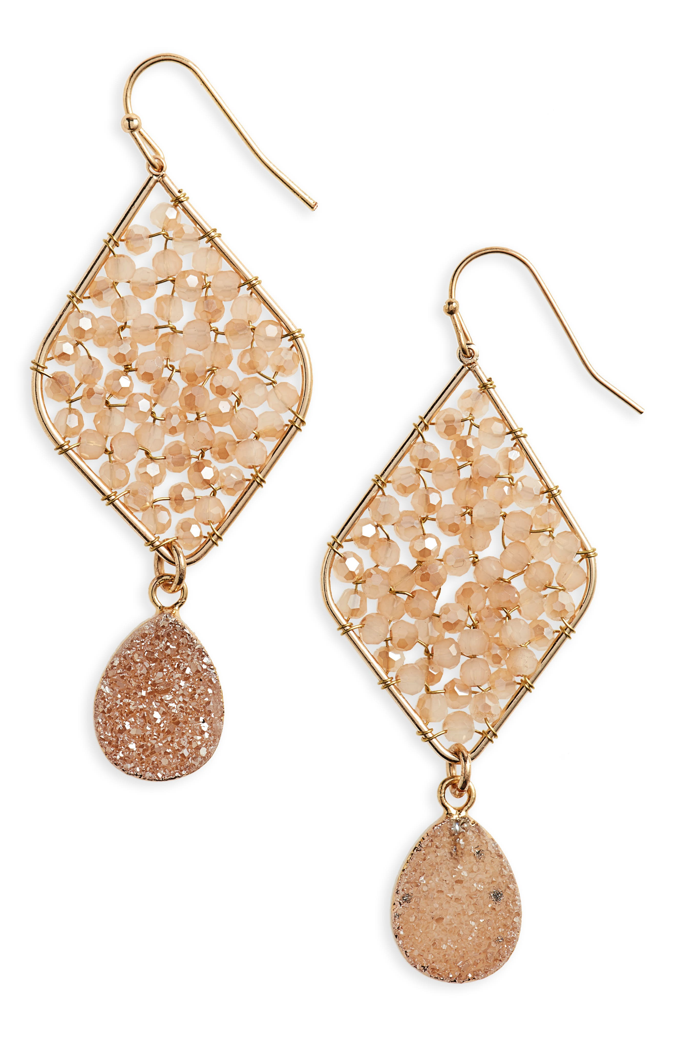 Beaded Drusy Drop Earrings,                             Main thumbnail 1, color,                             Topaz