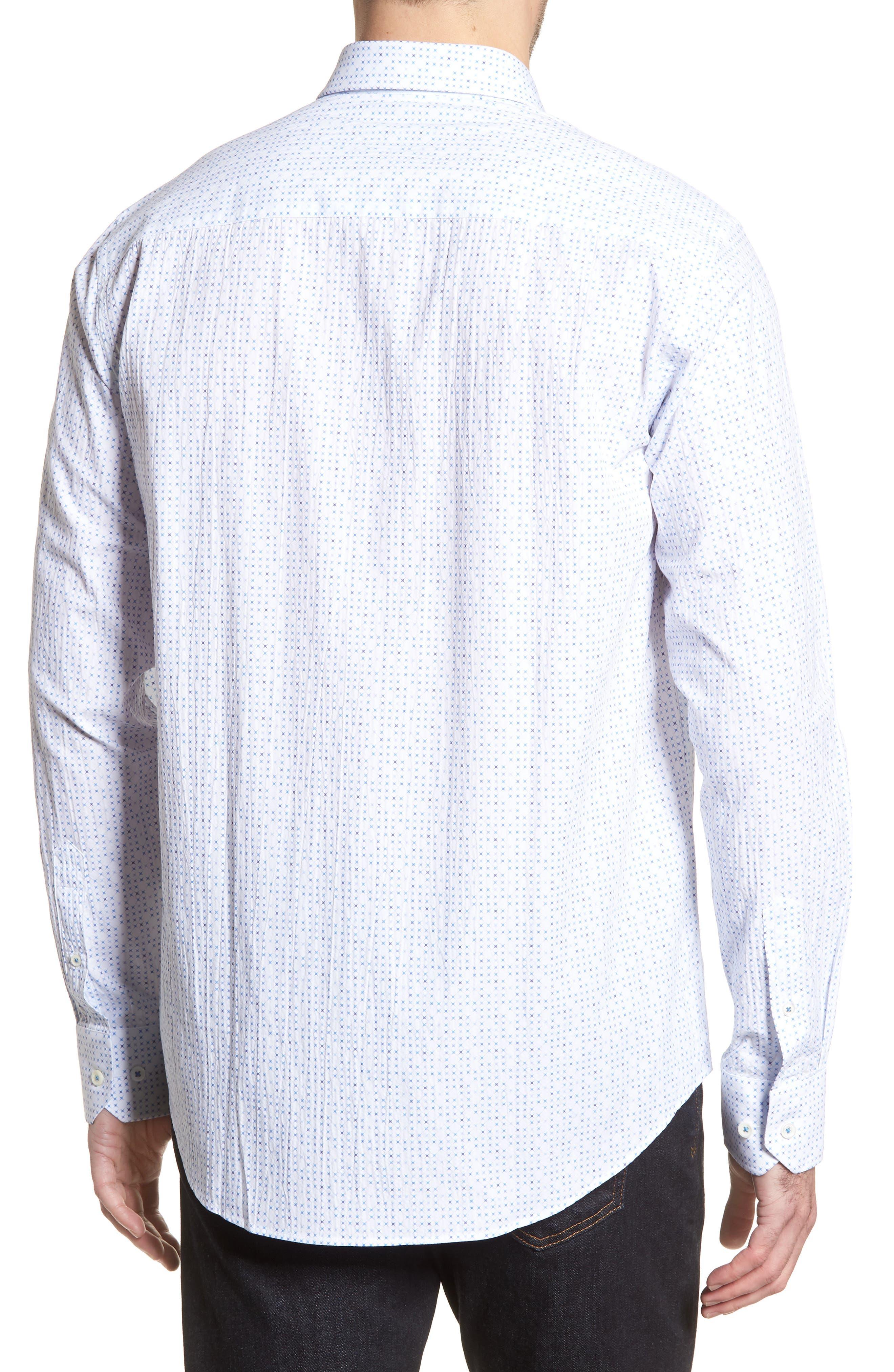Classic Fit Petit Point Print Sport Shirt,                             Alternate thumbnail 2, color,                             White