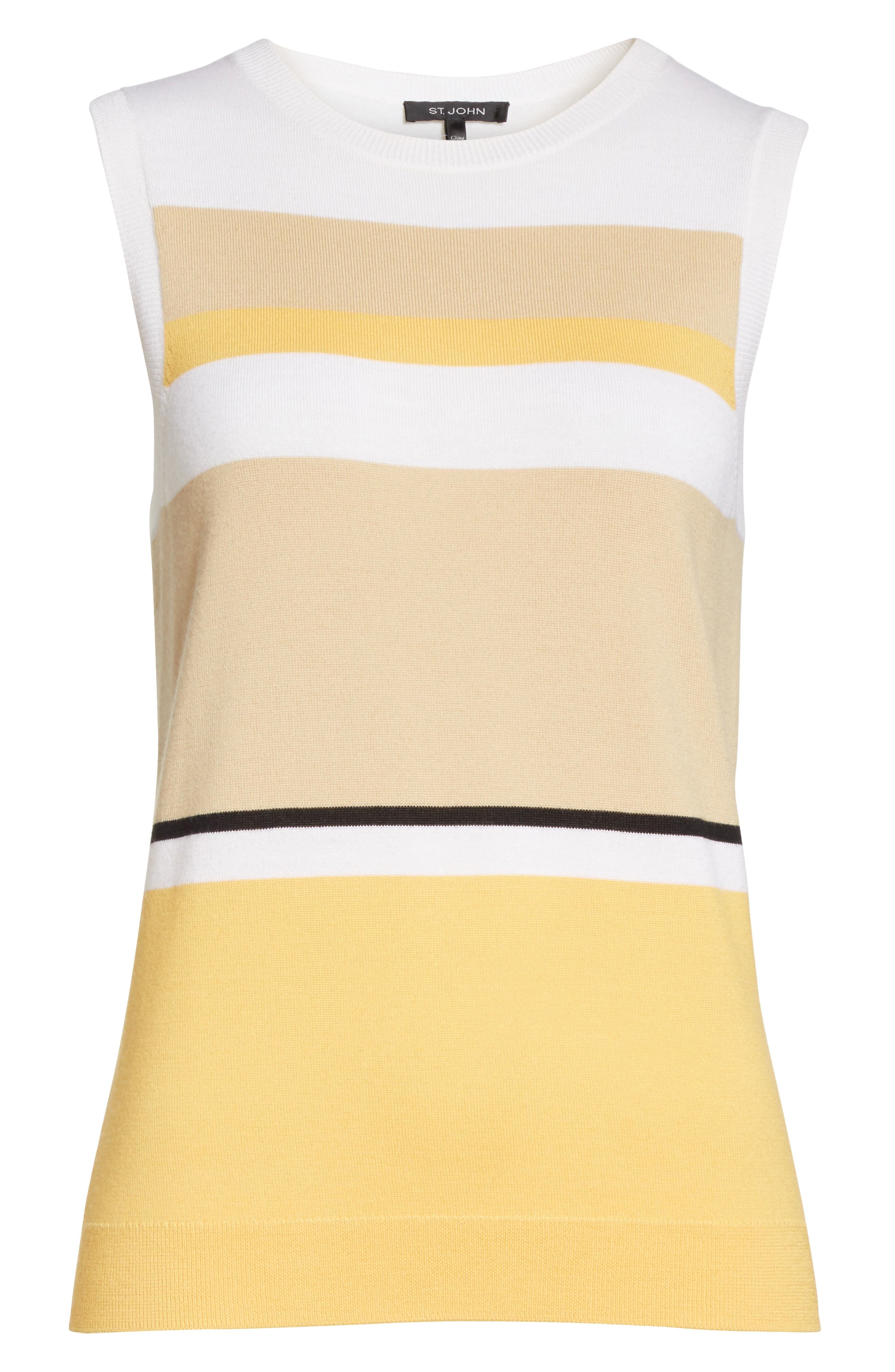 Stripe Jersey Knit Shell,                             Alternate thumbnail 6, color,                             White Multi