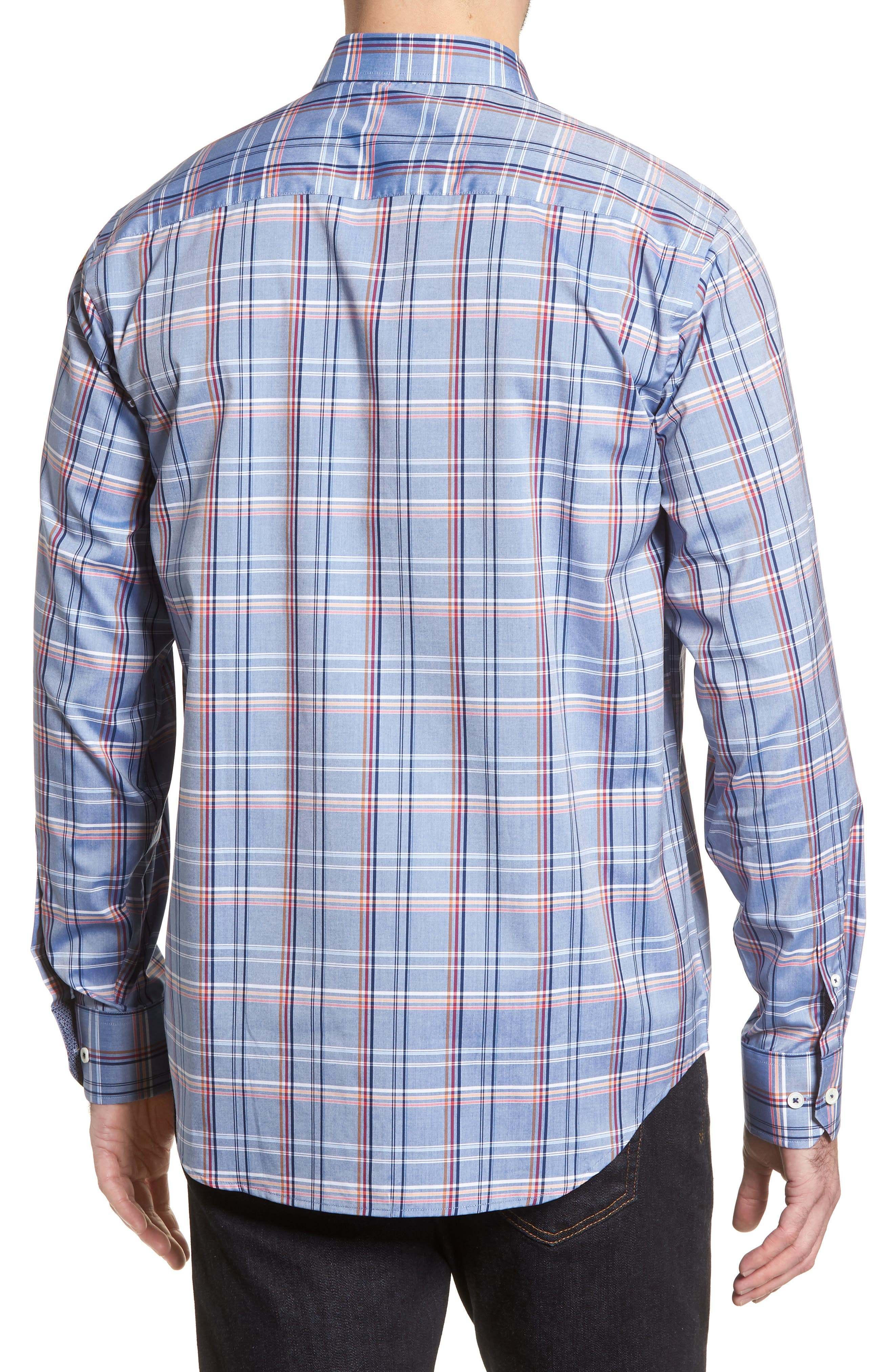 Classic Fit Urban Plaid Sport Shirt,                             Alternate thumbnail 2, color,                             Steel