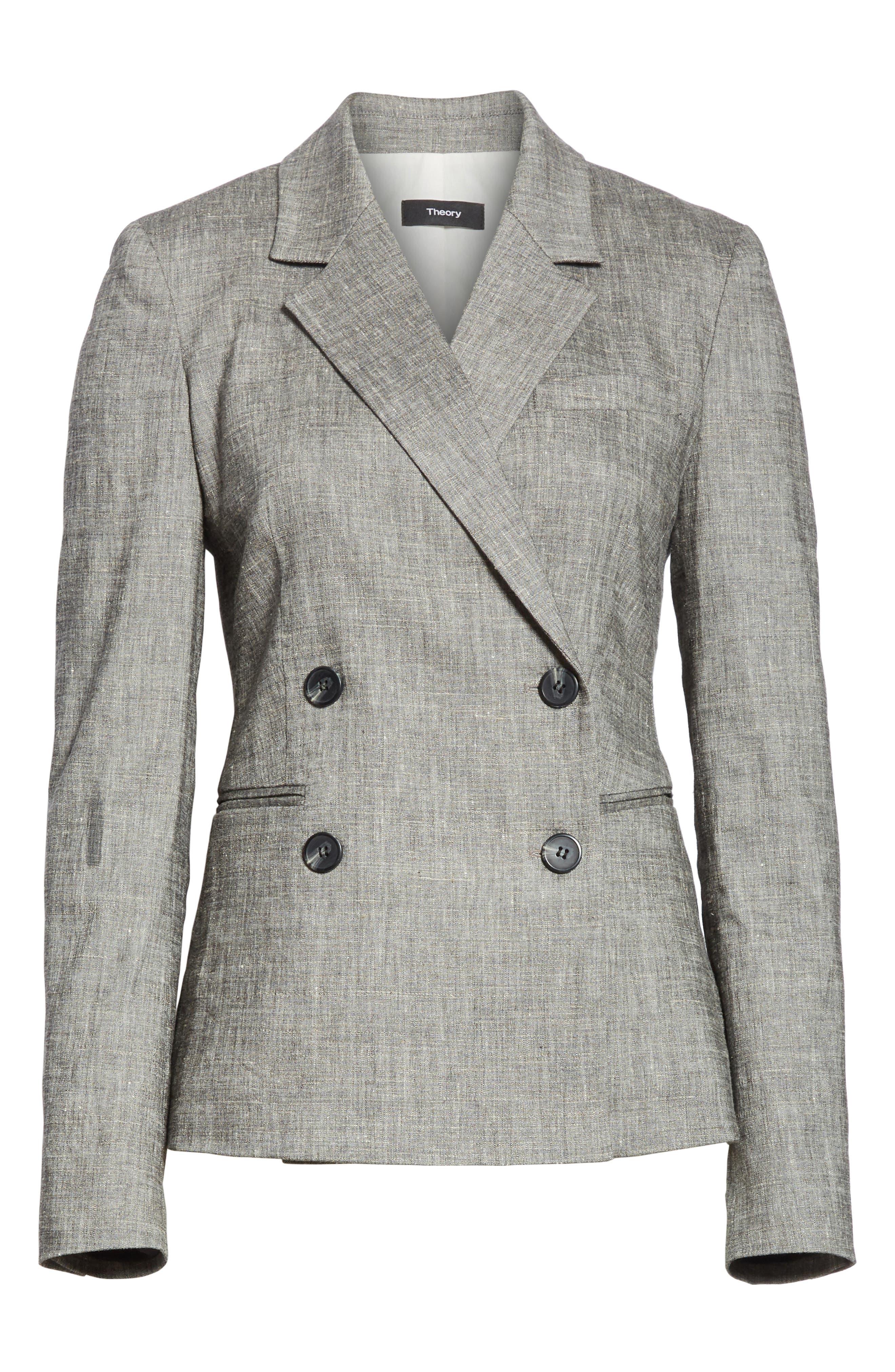 Double Breasted Linen Blend Suit Jacket,                             Alternate thumbnail 5, color,                             Black