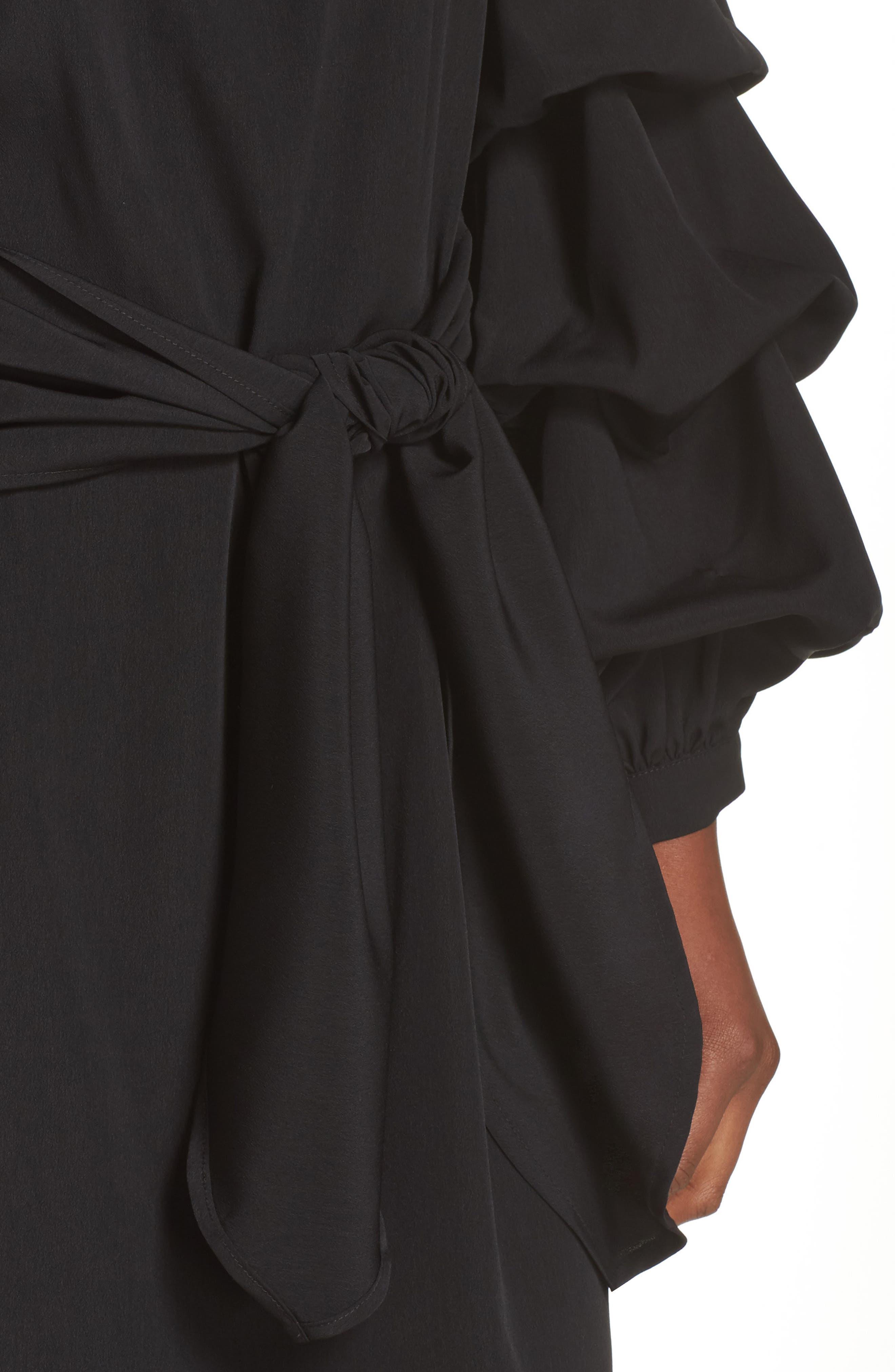Off the Shoulder Tiered Sleeve Dress,                             Alternate thumbnail 4, color,                             Black