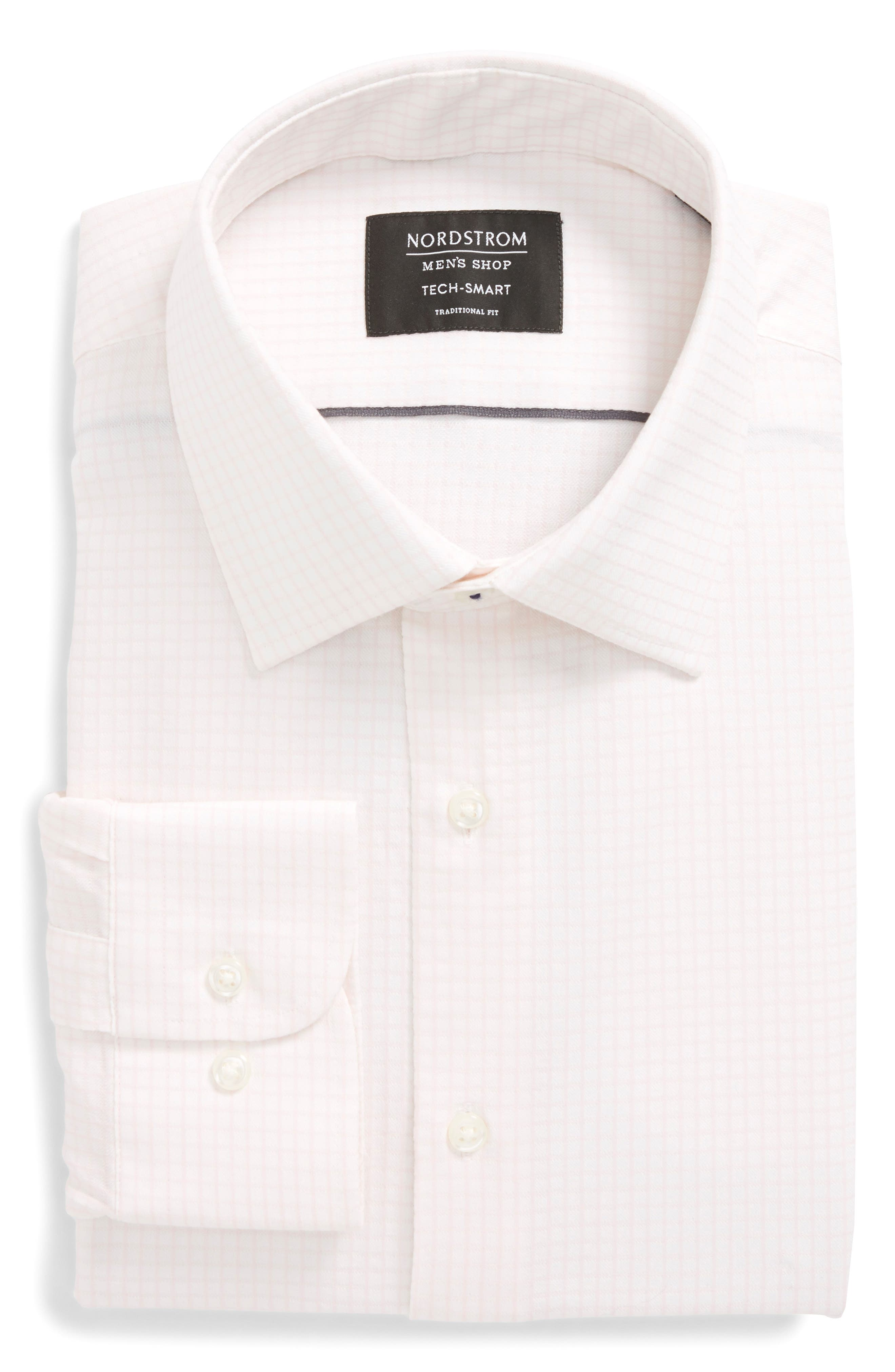 Tech-Smart Traditional Fit Stretch Tattersall Dress Shirt,                             Alternate thumbnail 6, color,                             Pink Breath