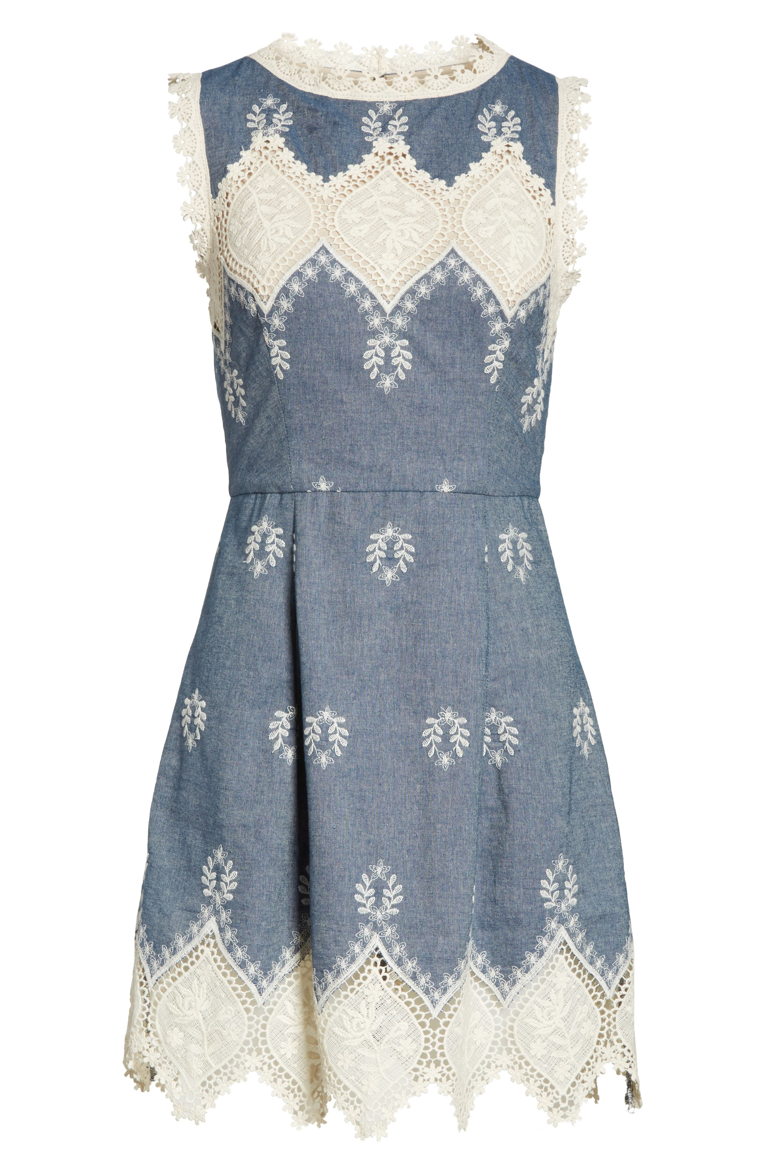Embroidered Minidress,                             Alternate thumbnail 6, color,                             Chambray/ Cream