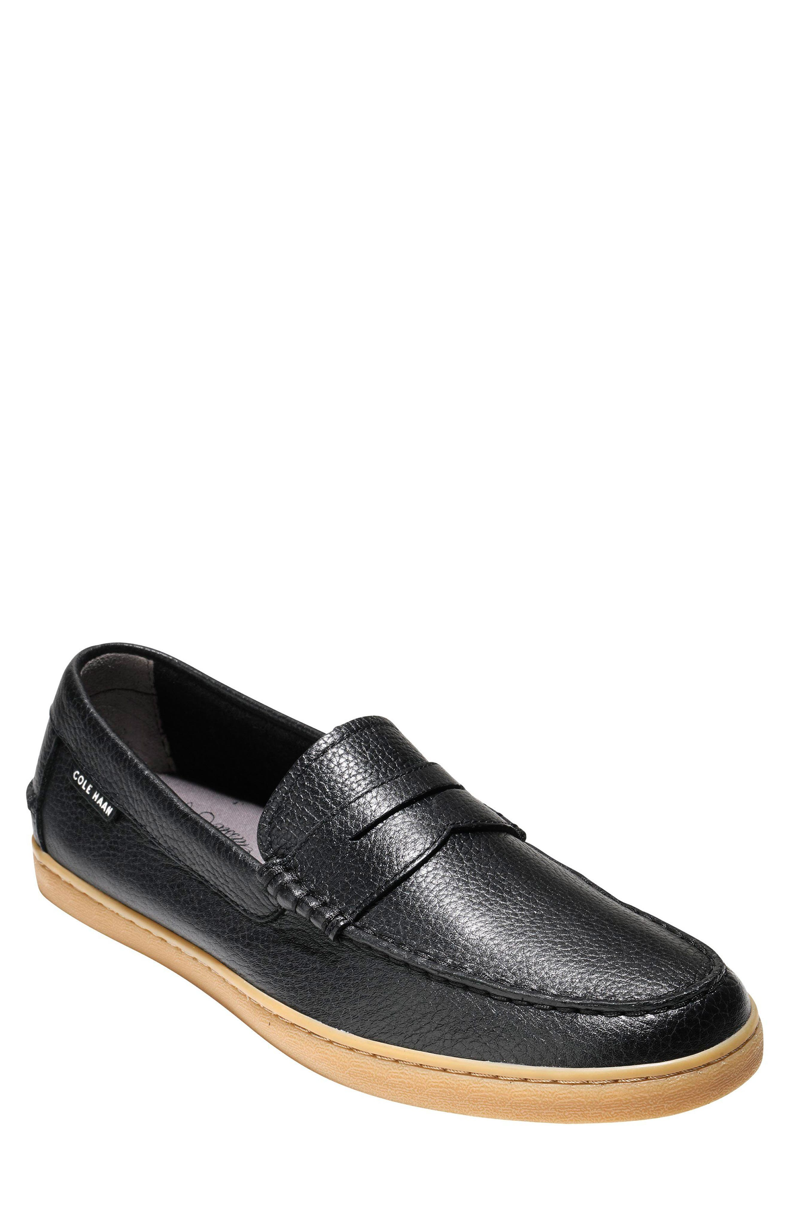 'Pinch Weekend' Penny Loafer,                             Main thumbnail 1, color,                             Black Tumble Leather