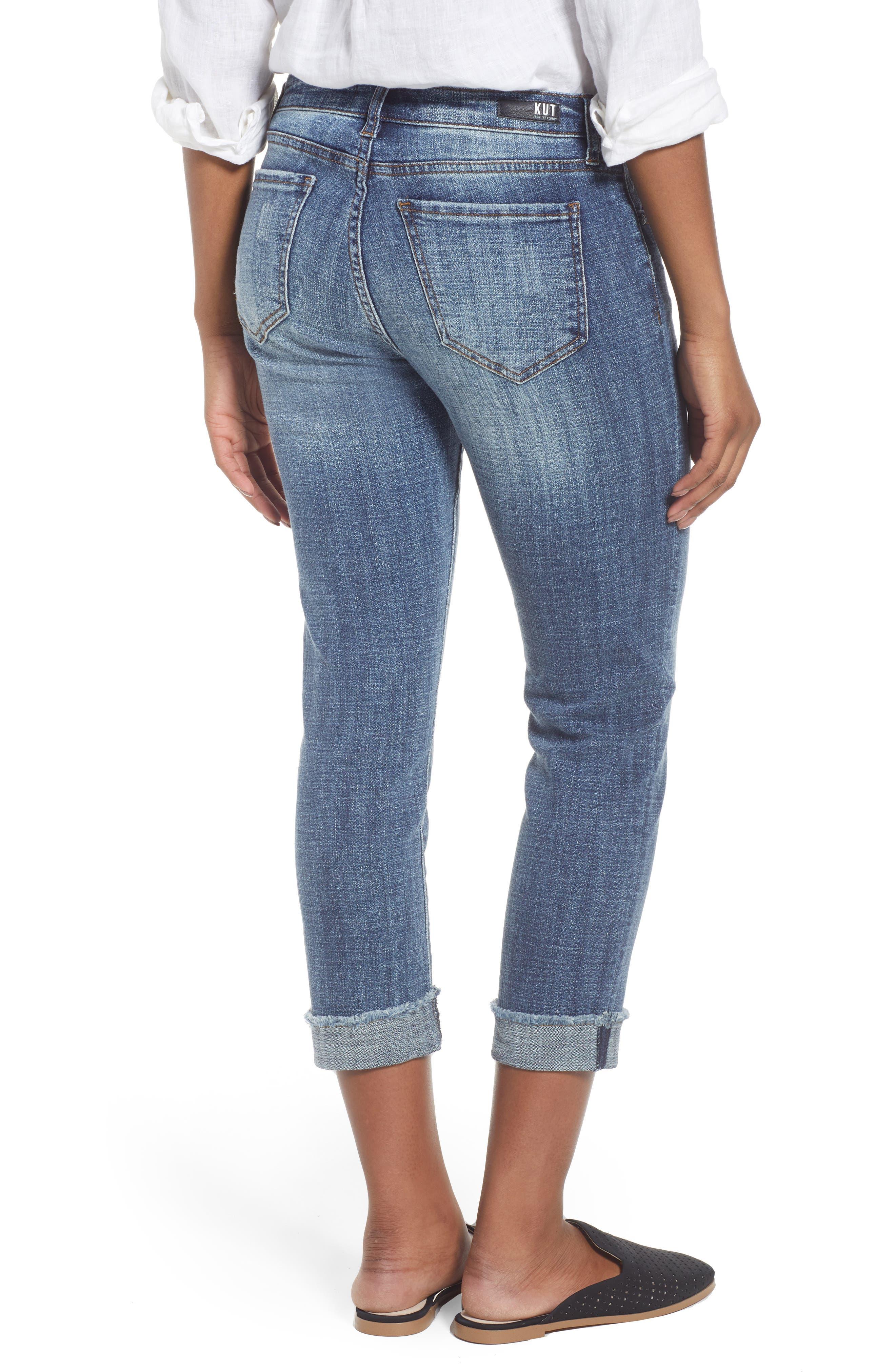 Amy Distressed Crop Jeans,                             Alternate thumbnail 2, color,                             Soar