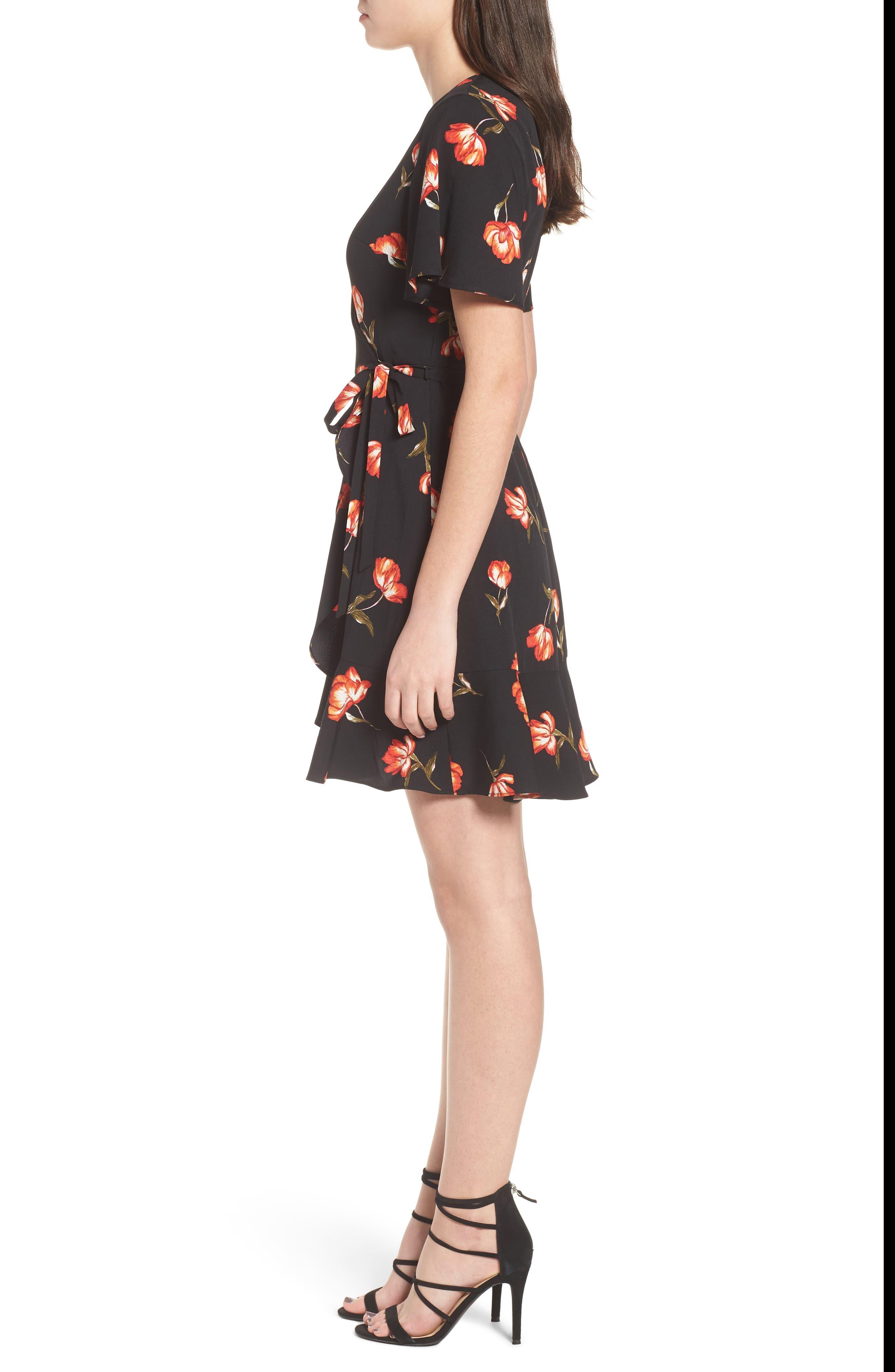 Lucy Floral Wrap Dress,                             Alternate thumbnail 3, color,                             Black Floral