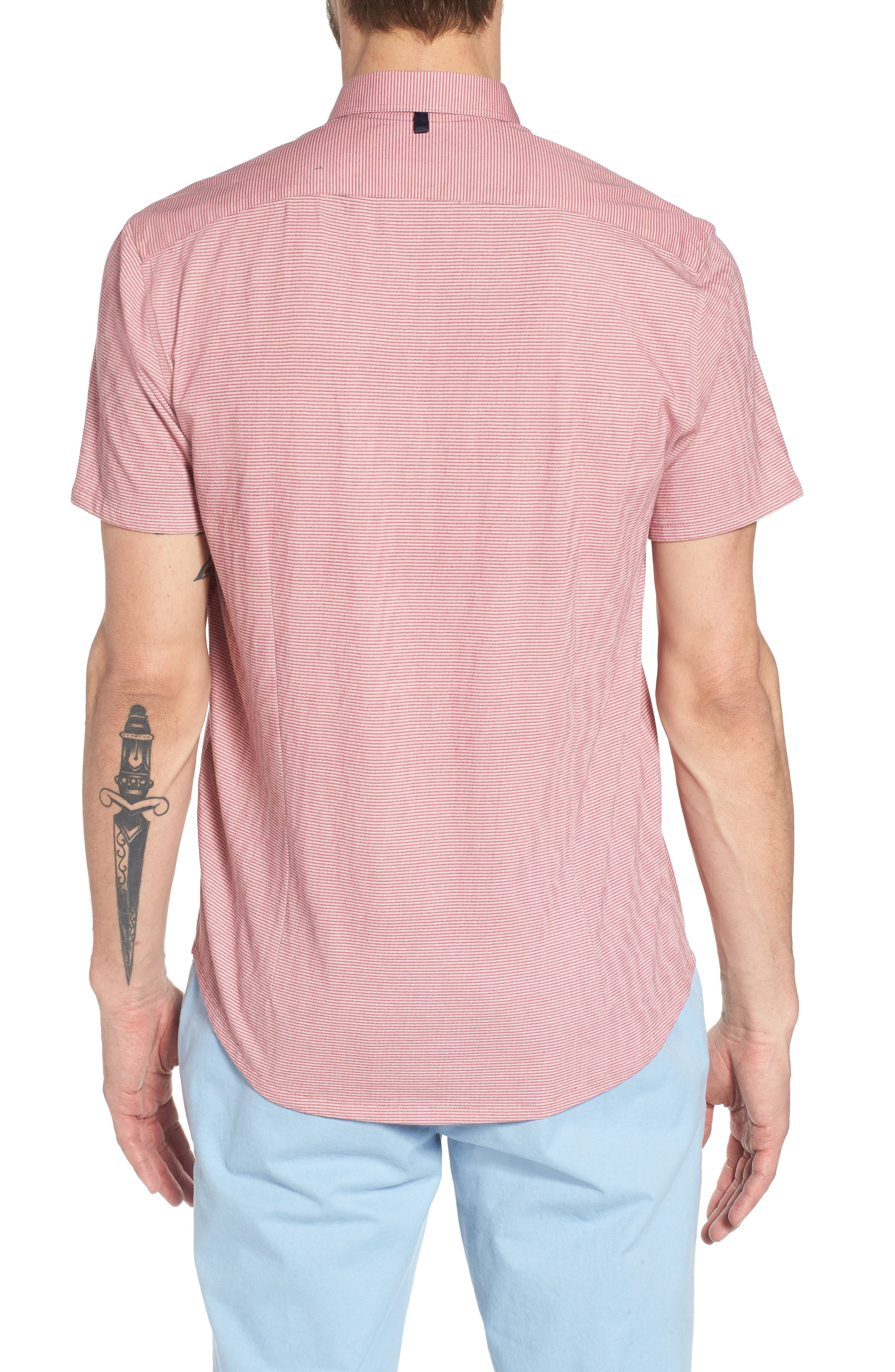 Reworked Slim Fit Micro Stripe Sport Shirt,                             Alternate thumbnail 2, color,                             Pink