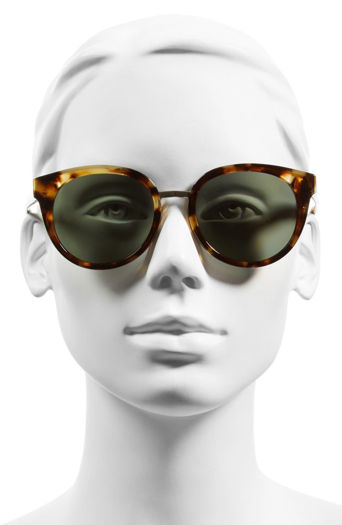 53mm Polarized Retro Sunglasses,                             Alternate thumbnail 2, color,                             Light Tortoise/ Polar