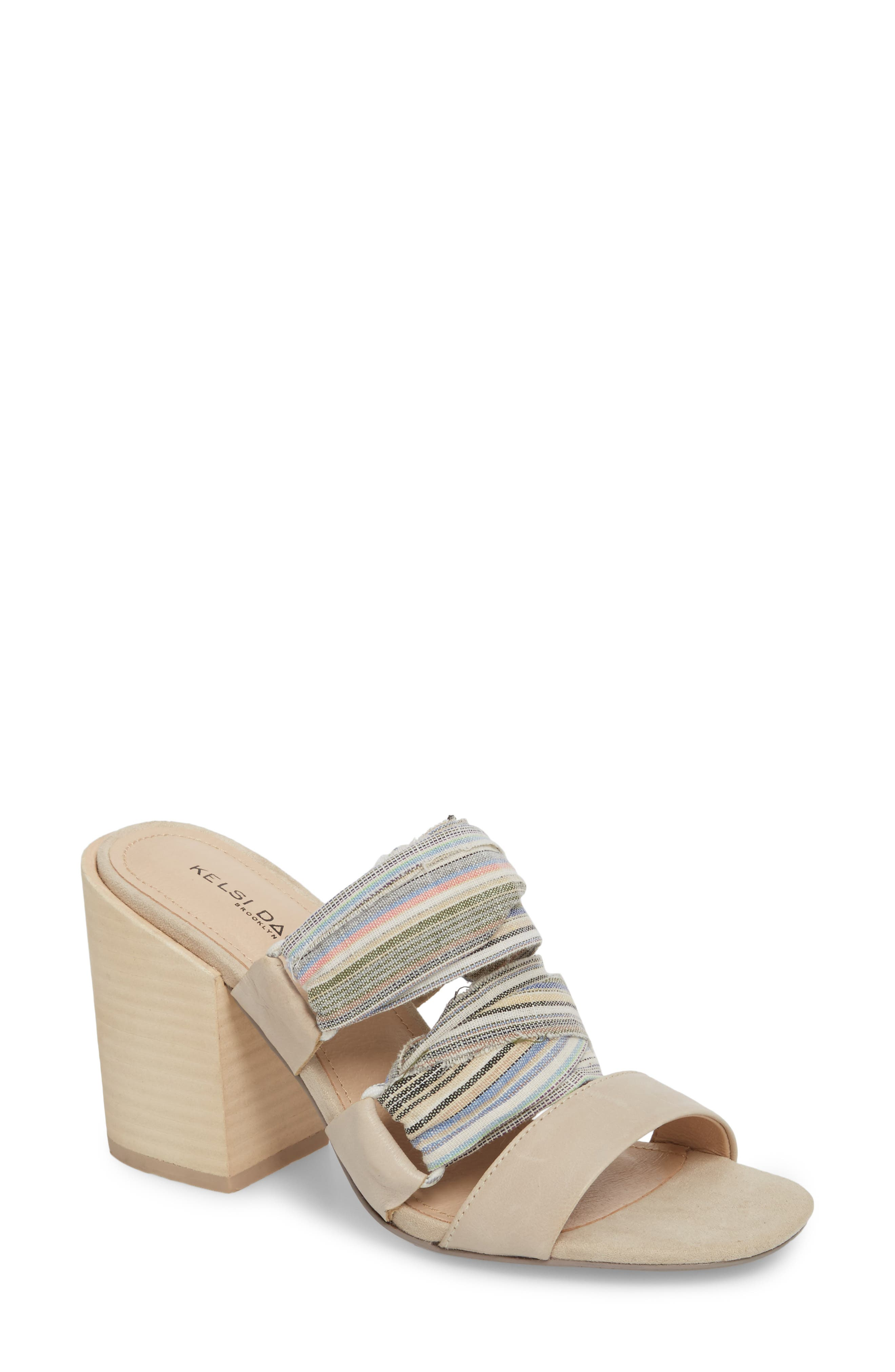 Monaco Block Heel Sandal,                         Main,                         color, Bone/ Multi
