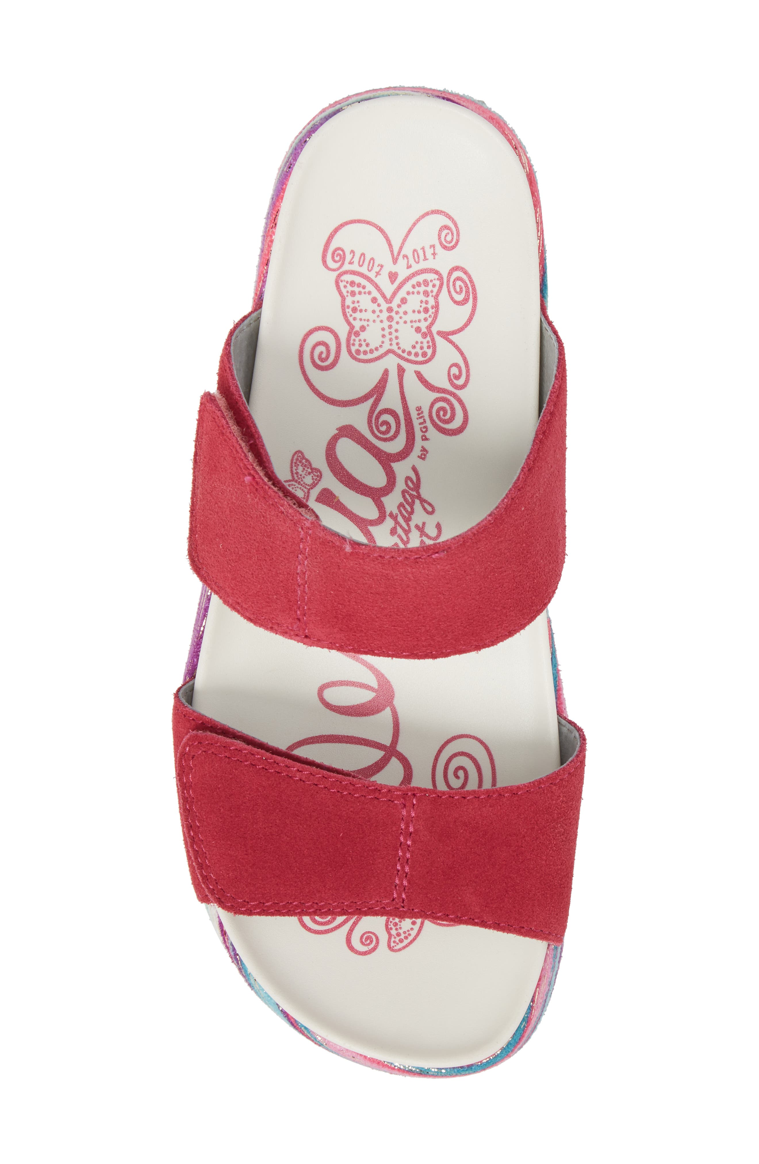 by PG Lite Mixie Slide Sandal,                             Alternate thumbnail 5, color,                             Fuchsia Party Leather