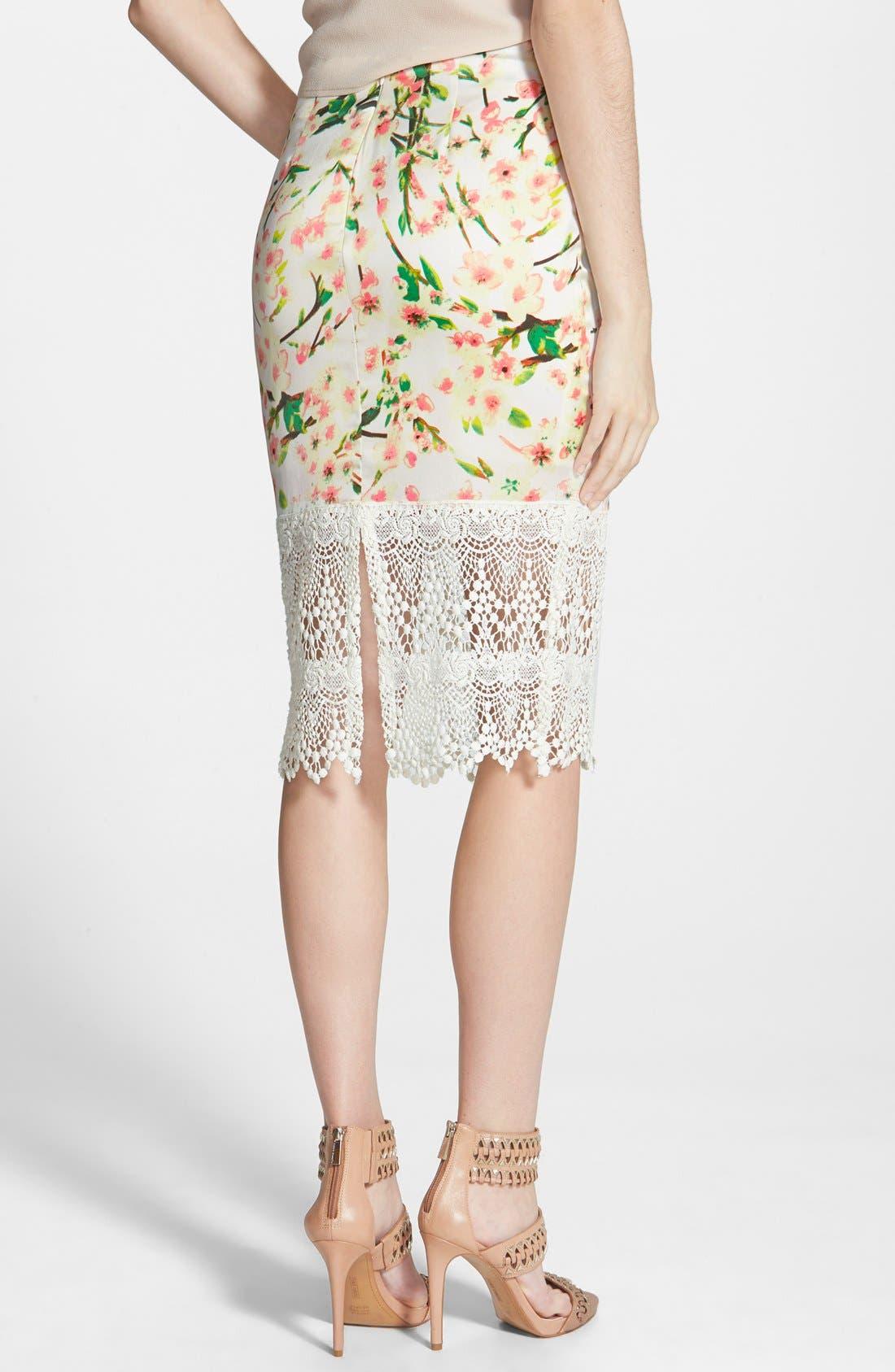 Alternate Image 2  - ASTR Lace Hem Pencil Skirt