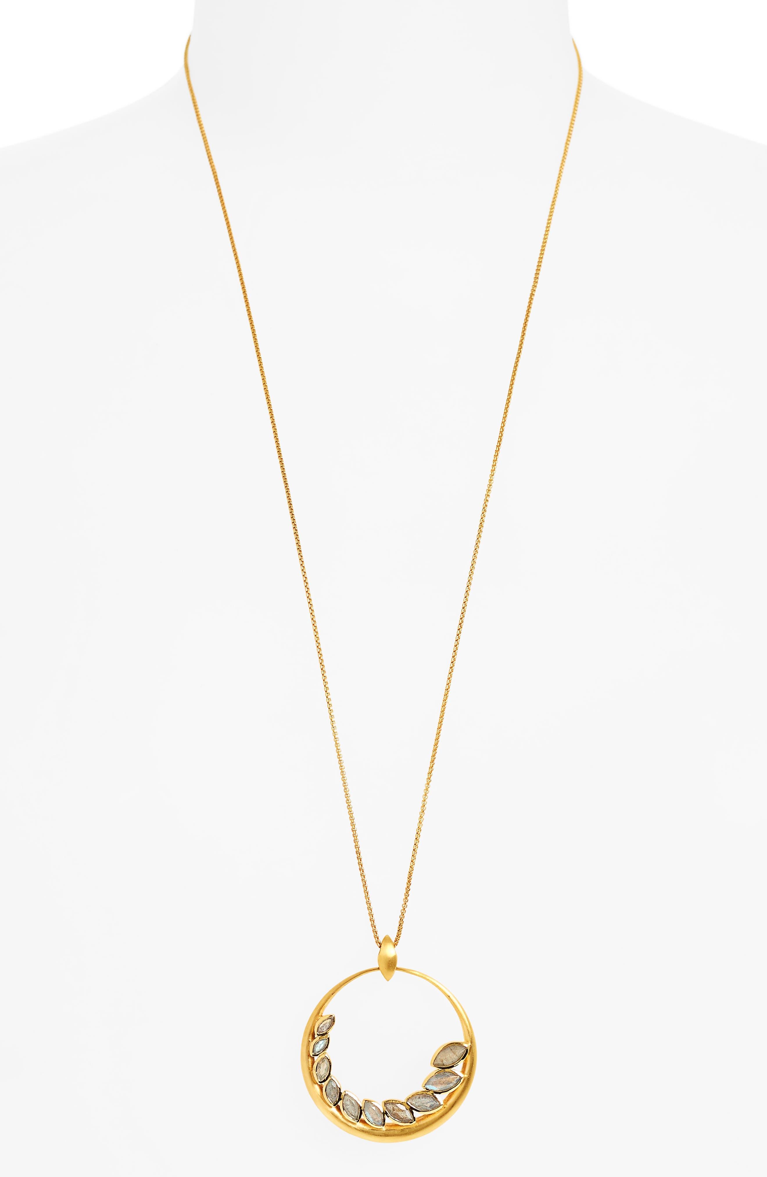 Kamala Pendant Necklace,                             Main thumbnail 1, color,                             Labradorite/ Gold