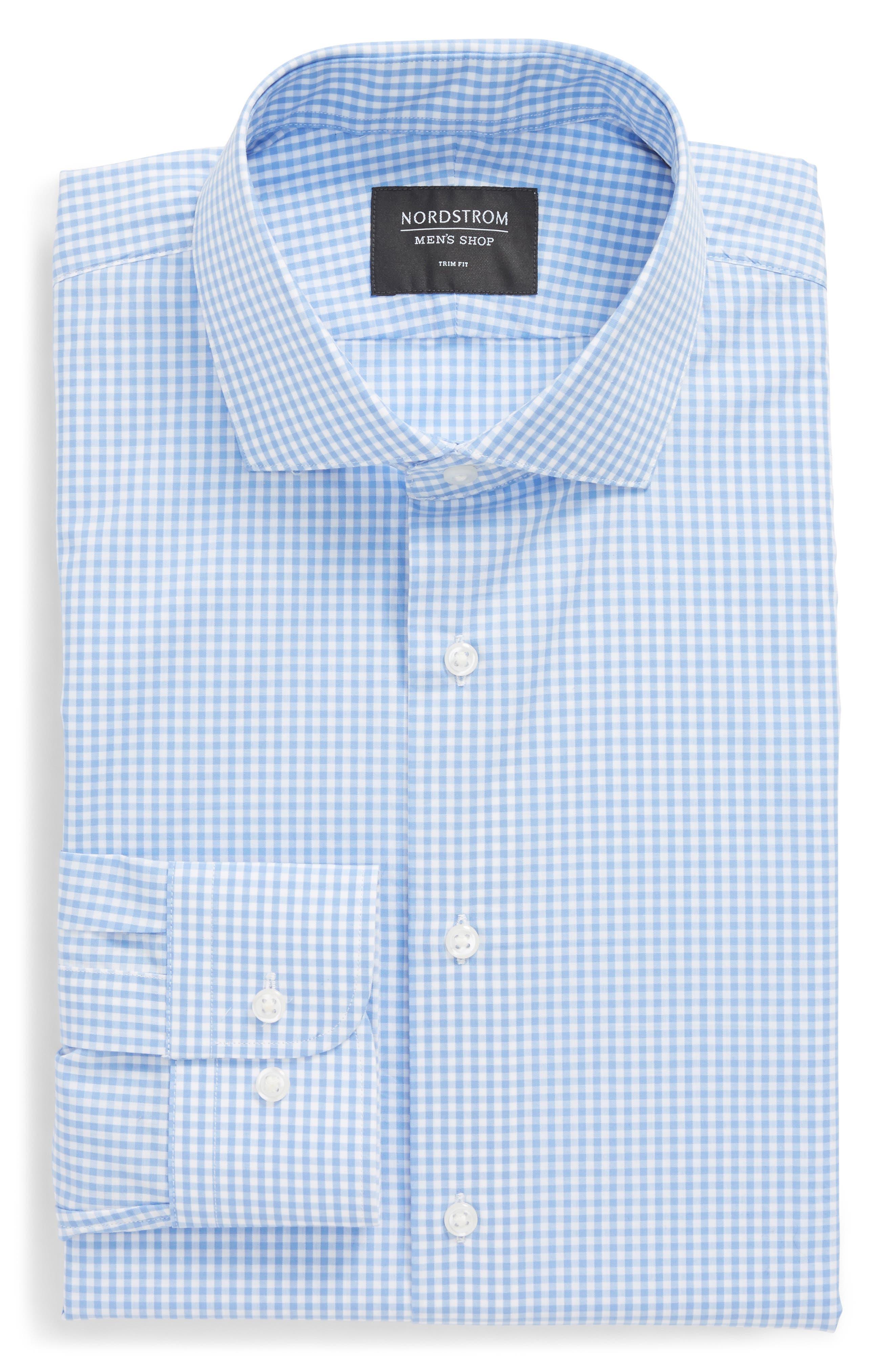 Trim Fit Check Dress Shirt,                             Alternate thumbnail 6, color,                             Blue Cornflower