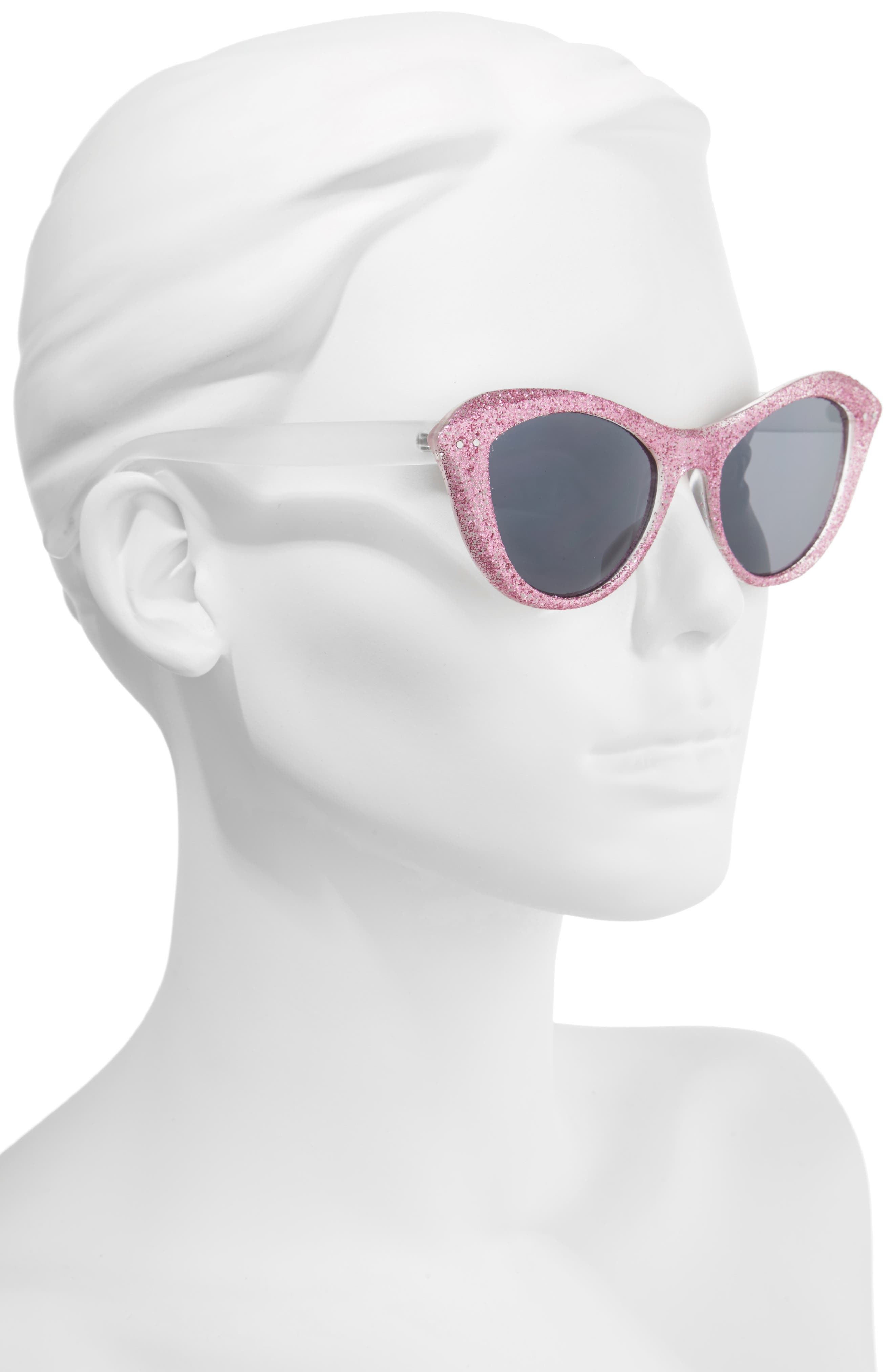 50mm Retro Cat Eye Sunglasses,                             Alternate thumbnail 2, color,                             Milky White/ Pink