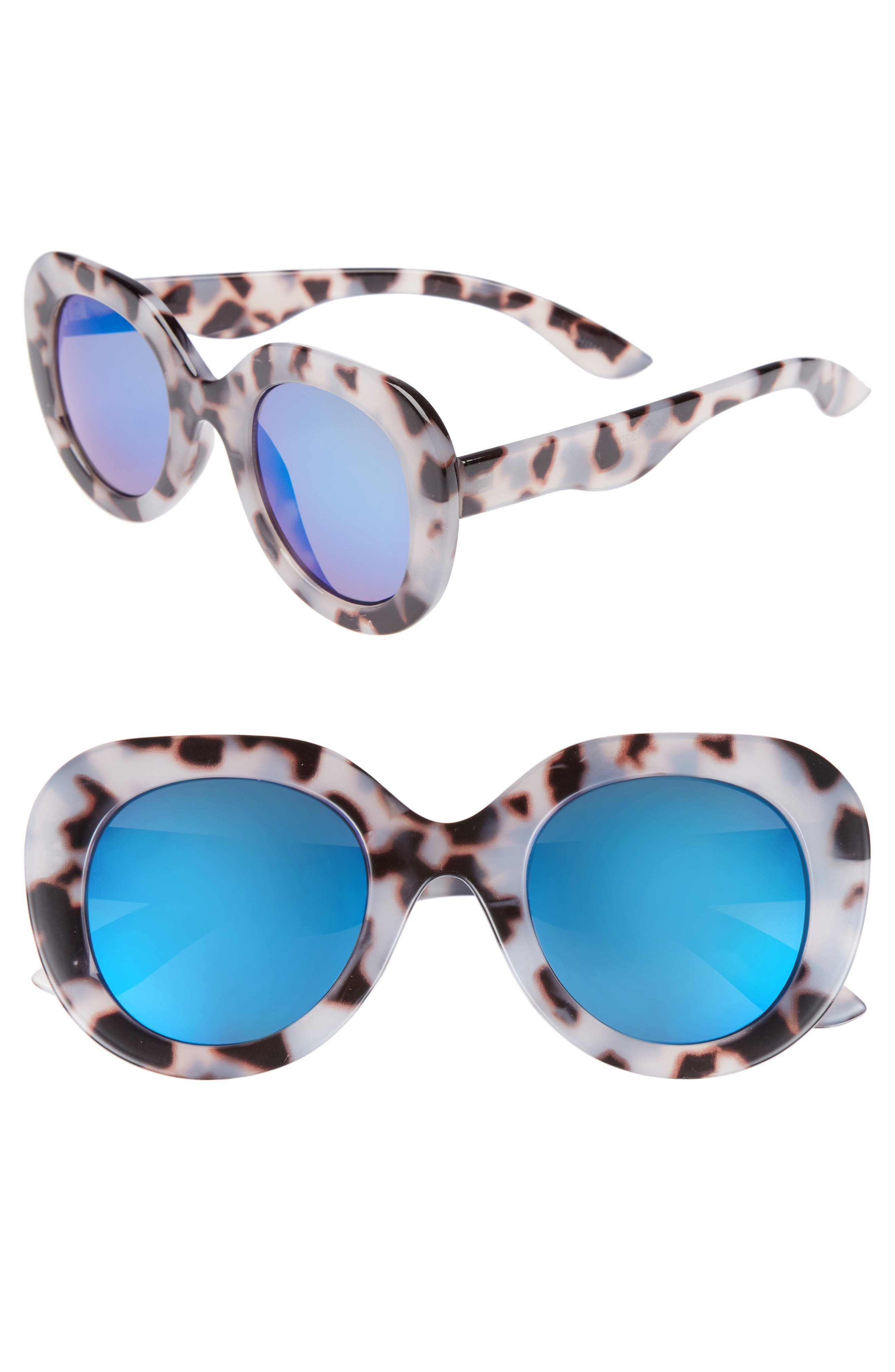 48mm Tinted Round Sunglasses,                         Main,                         color, Tort/ Blue