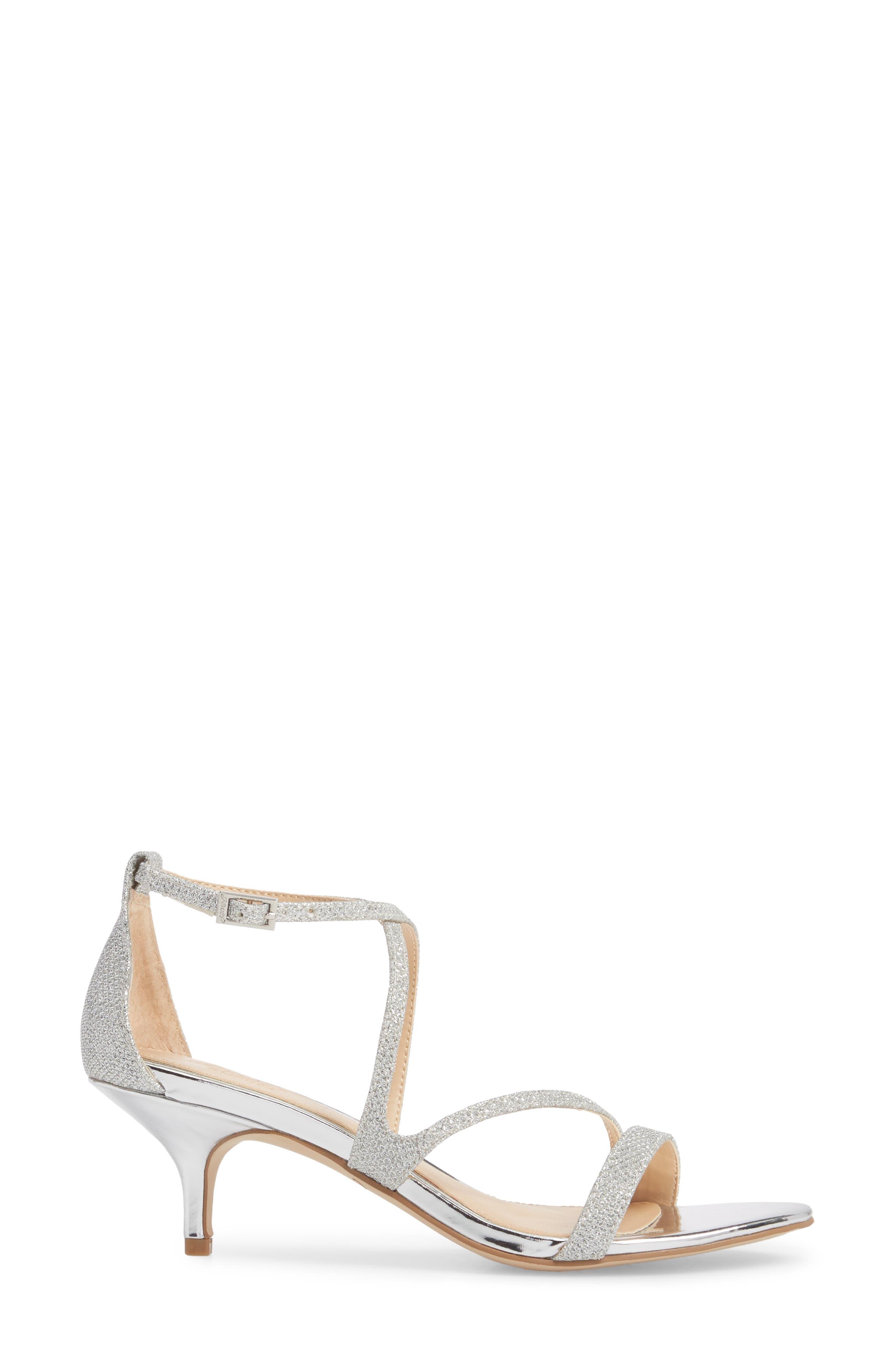 Gal Glitter Kitten Heel Sandal,                             Alternate thumbnail 3, color,                             Silver Glitter Fabric
