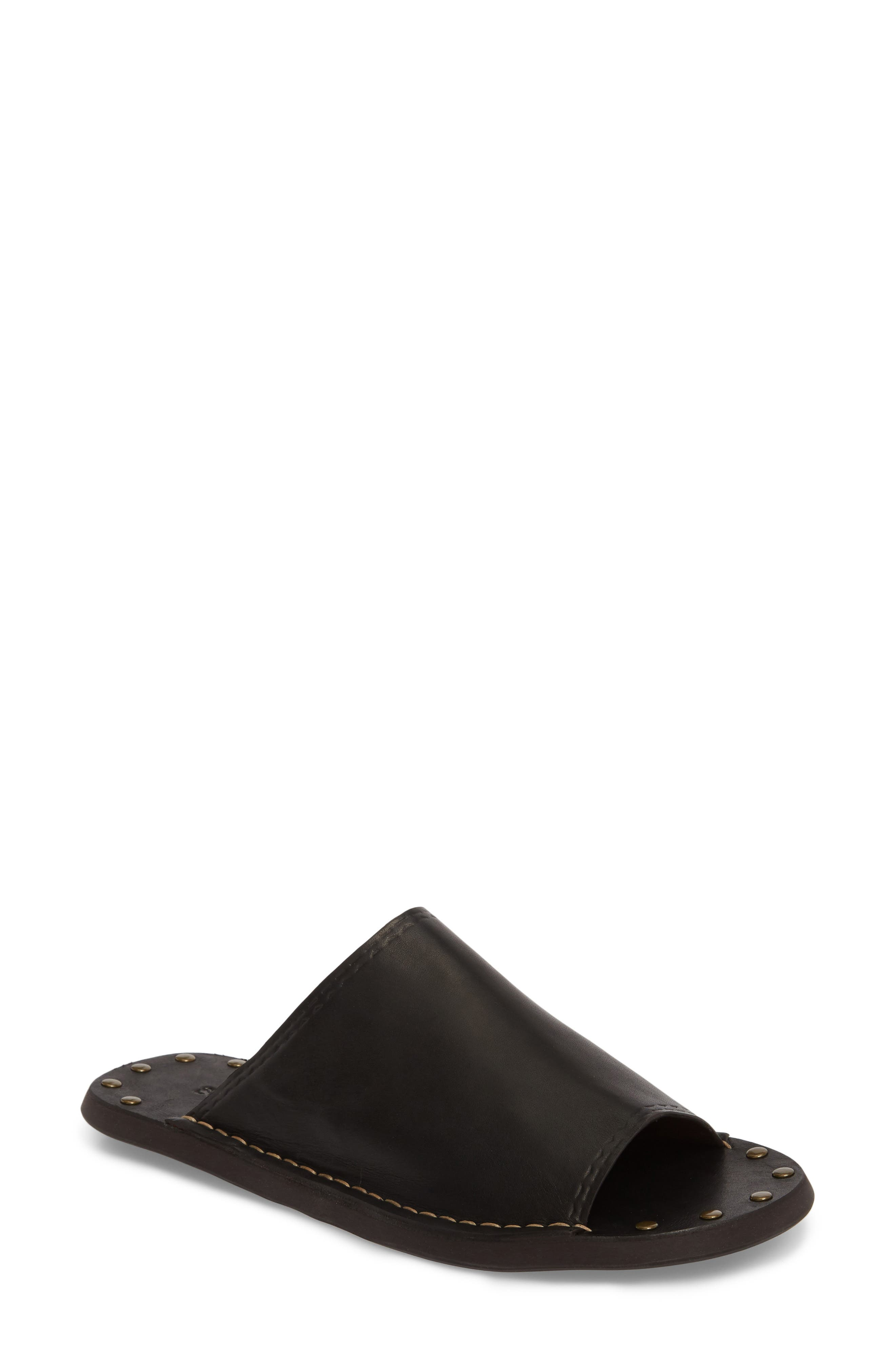 Leila Slide Sandal,                         Main,                         color, Black
