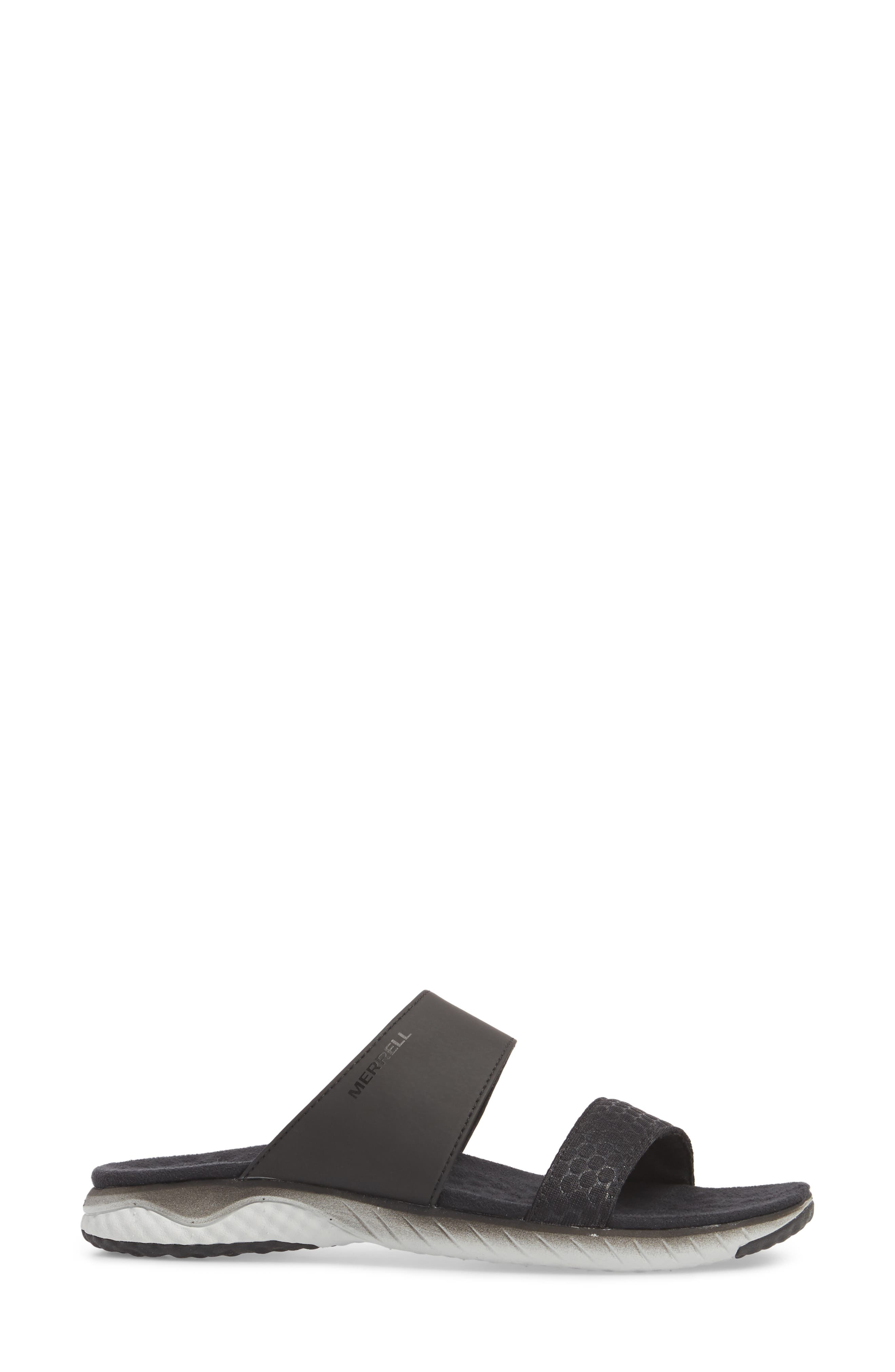 1SIX8 Linna Air Cushion+ Slide Sandal,                             Alternate thumbnail 3, color,                             Black