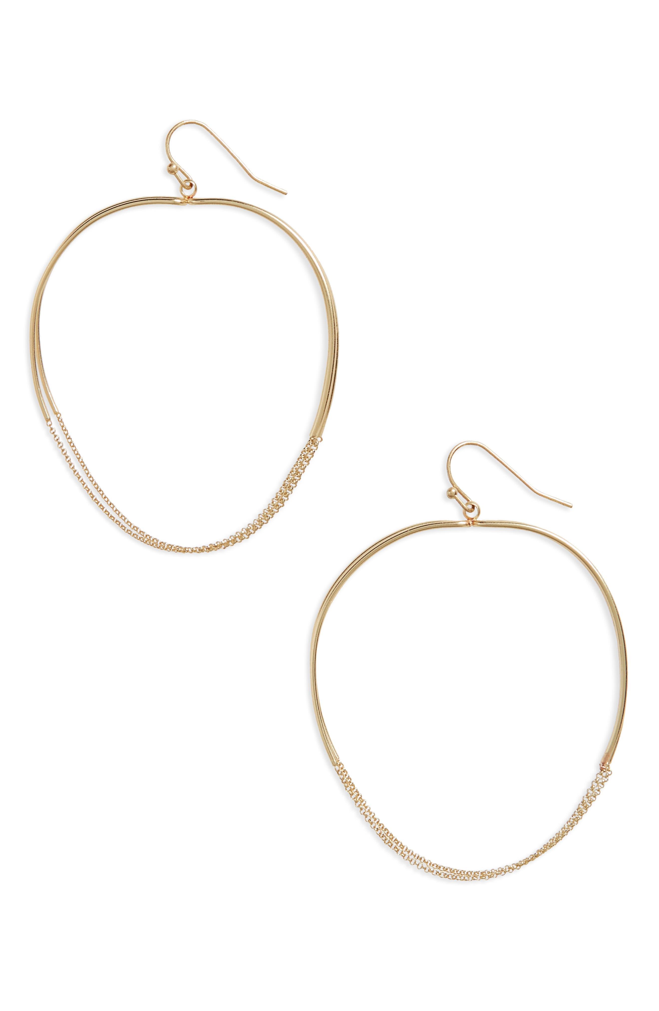 Canvas Jewelry Large Chain Detail Hoop Earrings