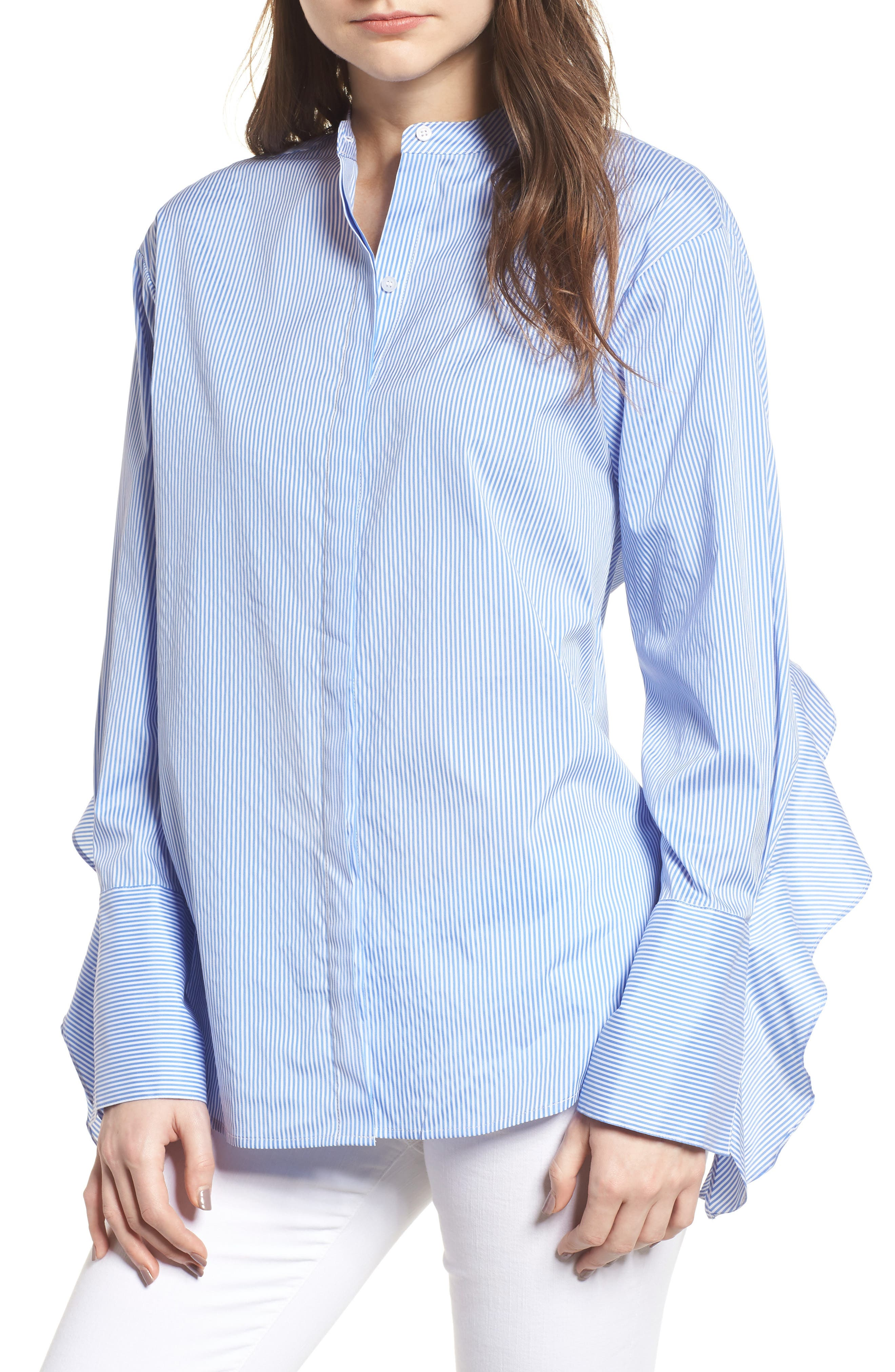 Stripe Ruffle Poplin Top,                         Main,                         color, Blue Stream Stripe