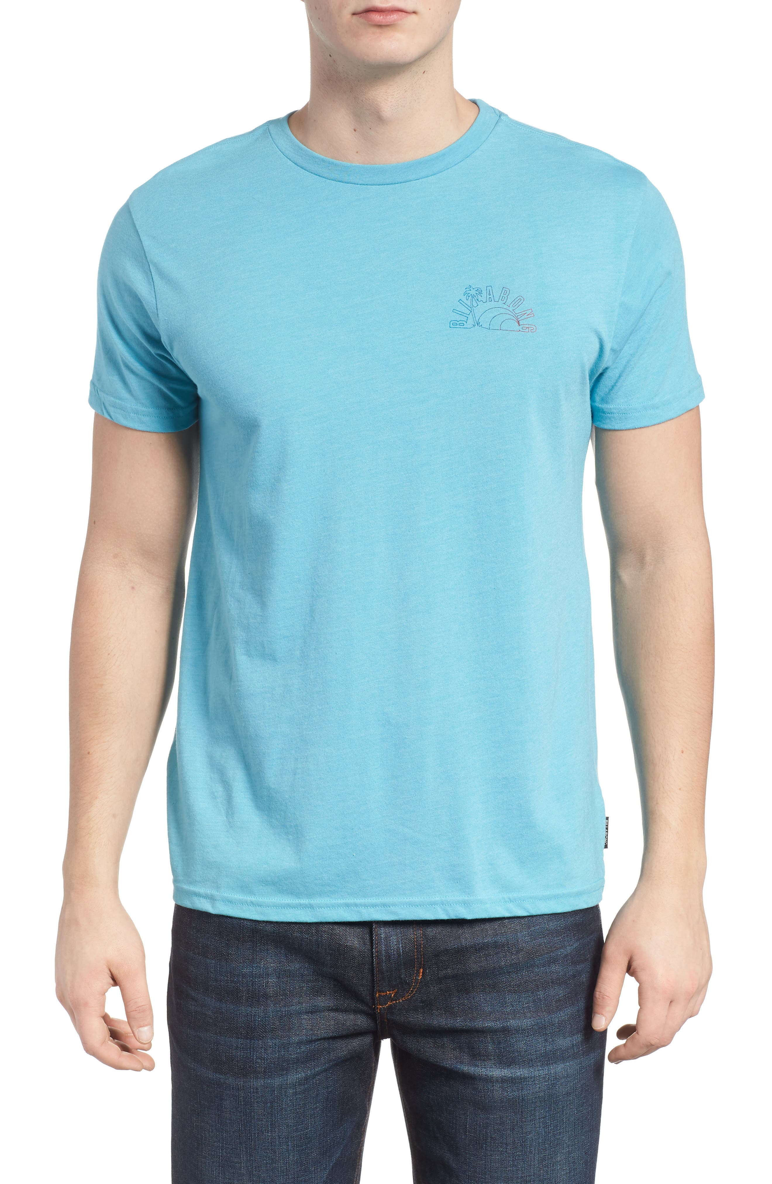 Rainbow Graphic T-Shirt,                             Main thumbnail 1, color,                             Aqua Heather