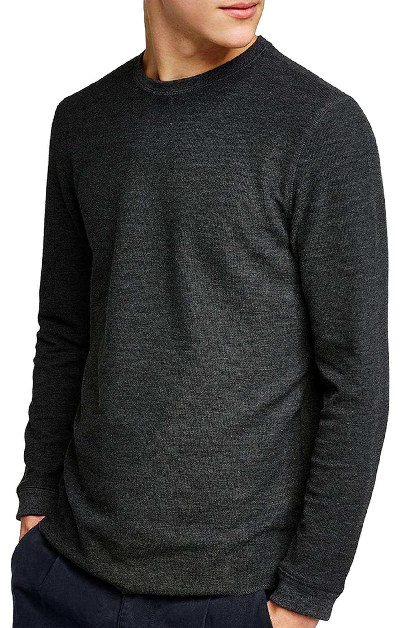 Slim Fit Waffle Knit Long Sleeve T-Shirt,                             Main thumbnail 1, color,                             Charcoal