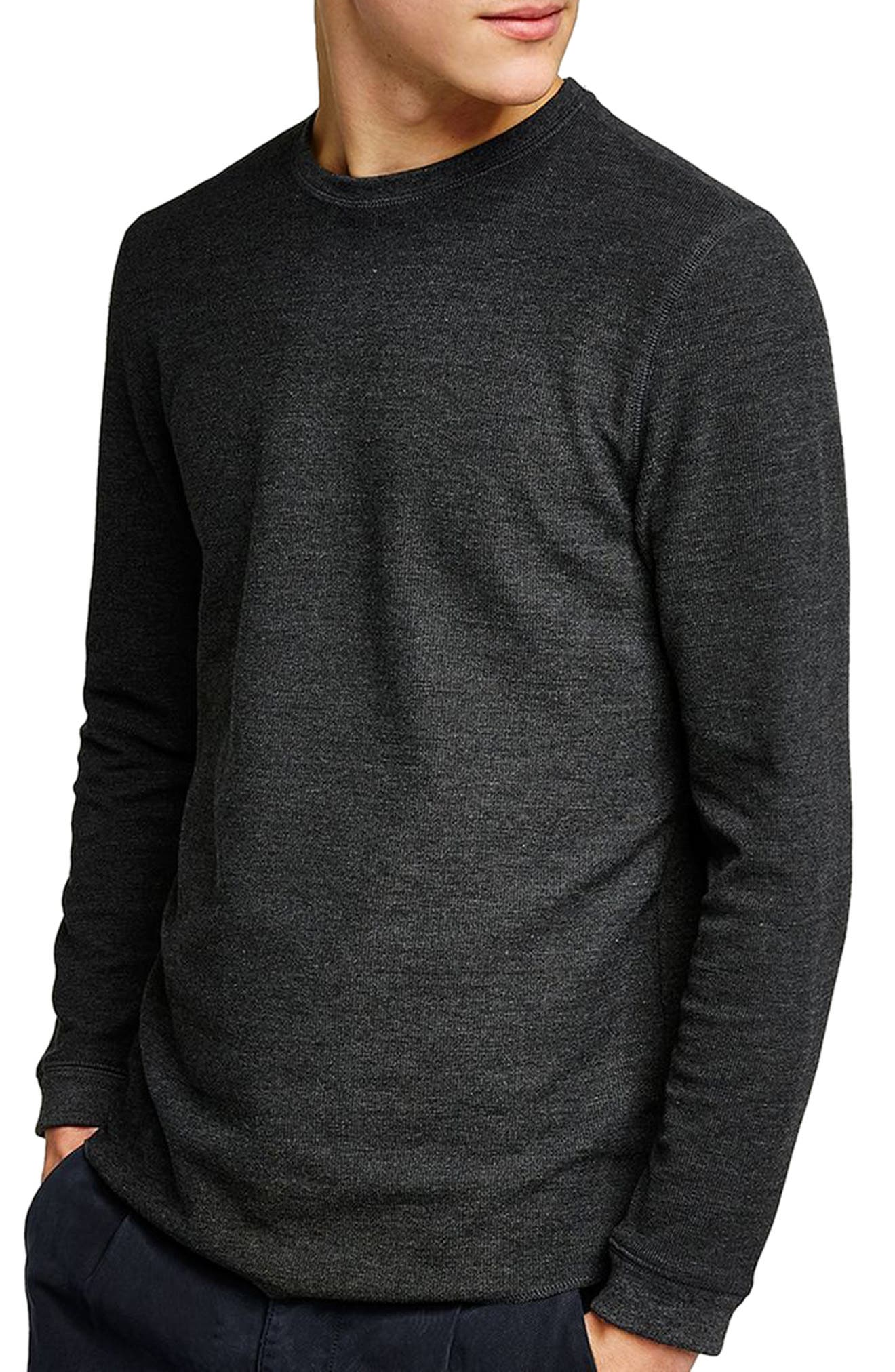 Slim Fit Waffle Knit Long Sleeve T-Shirt,                         Main,                         color, Charcoal