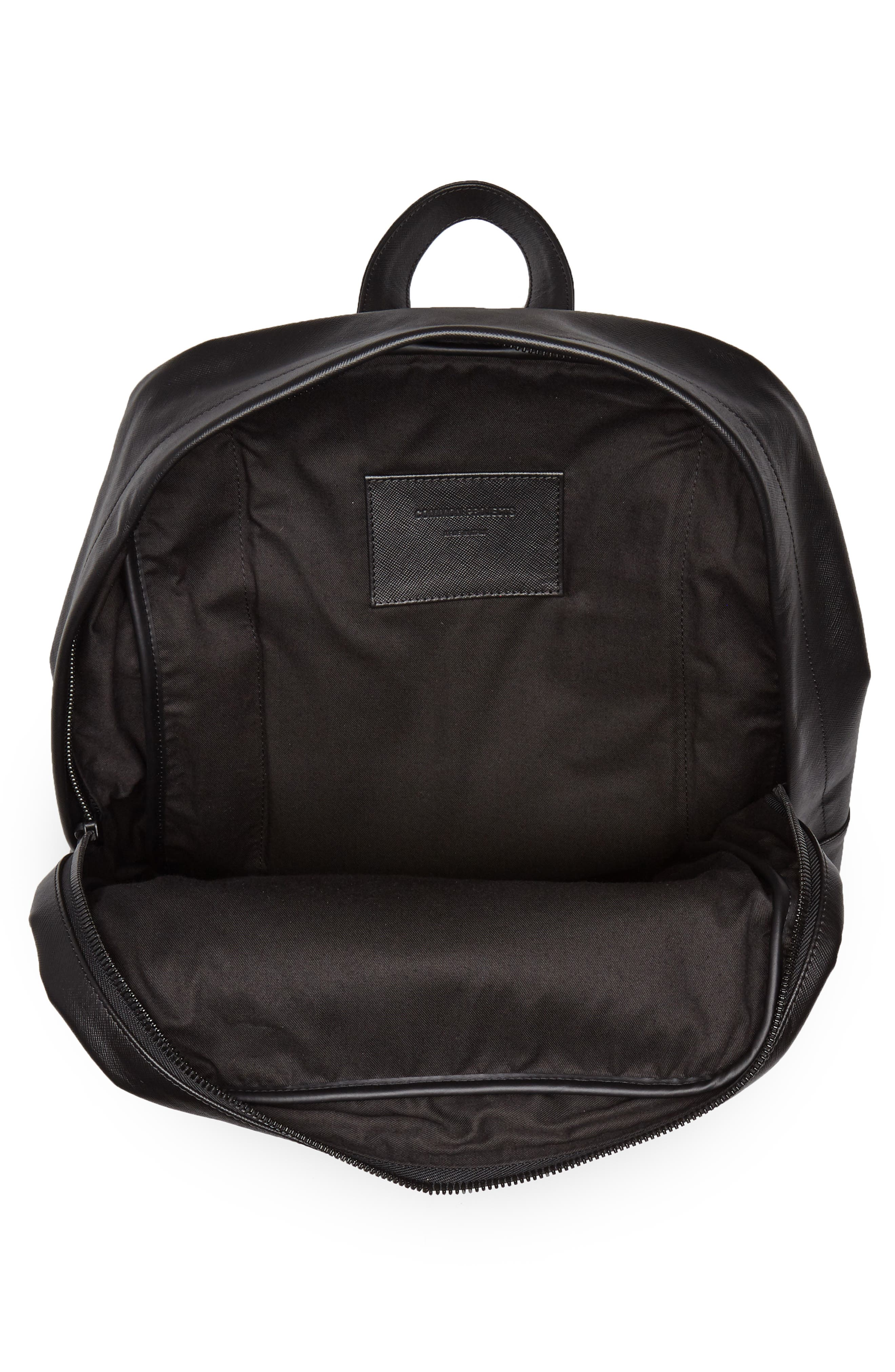 Saffiano Leather Backpack,                             Alternate thumbnail 4, color,                             Black