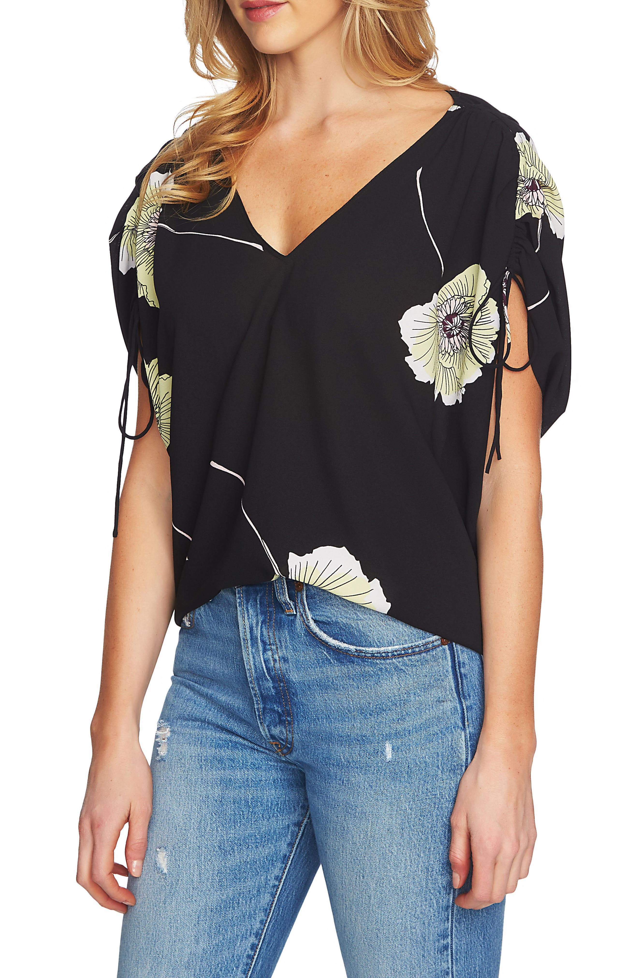1.STATE Cinch Sleeve V-Neck Blouse
