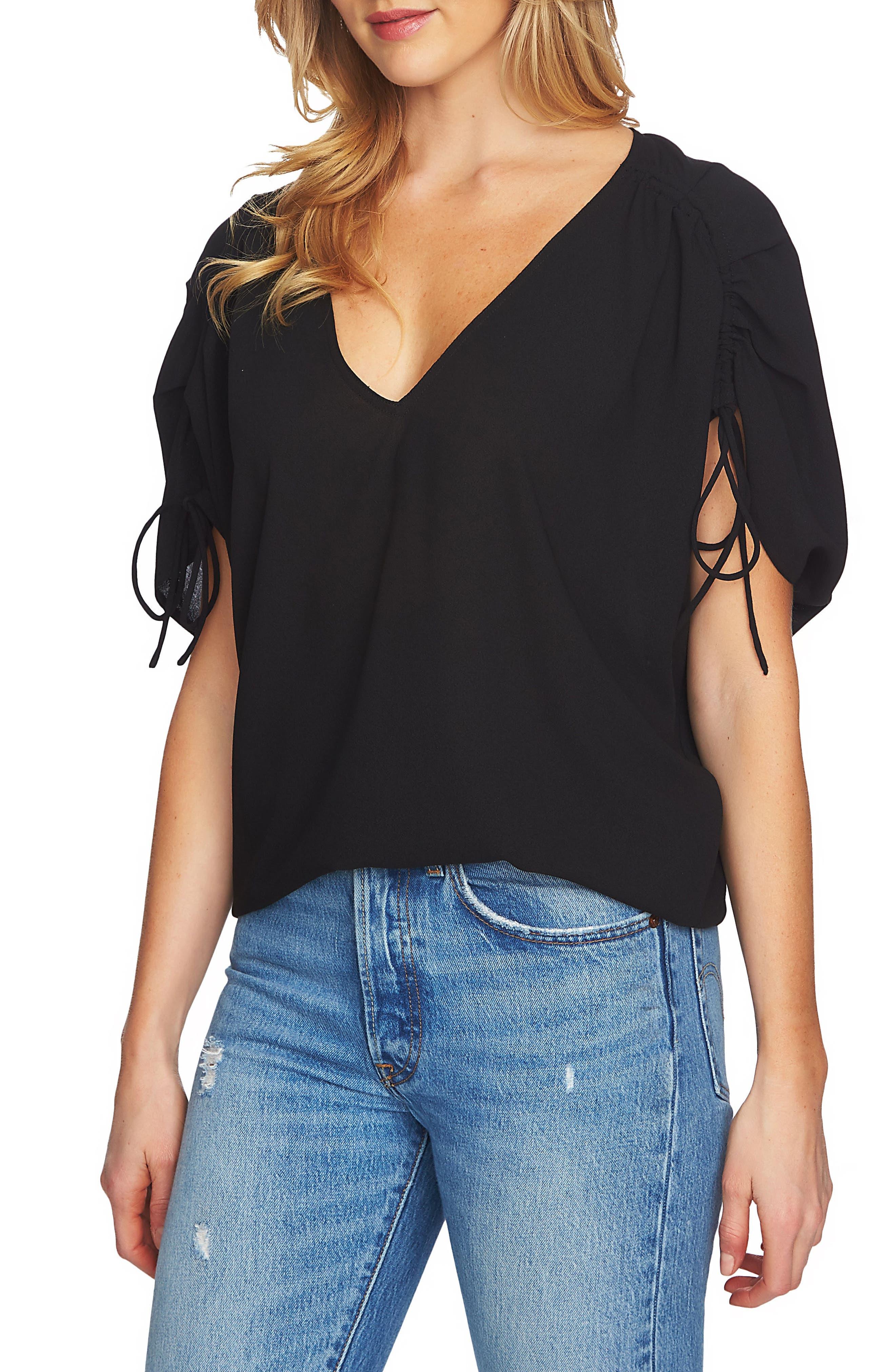 Cinch Sleeve Blouse,                         Main,                         color, 060-Rich Black