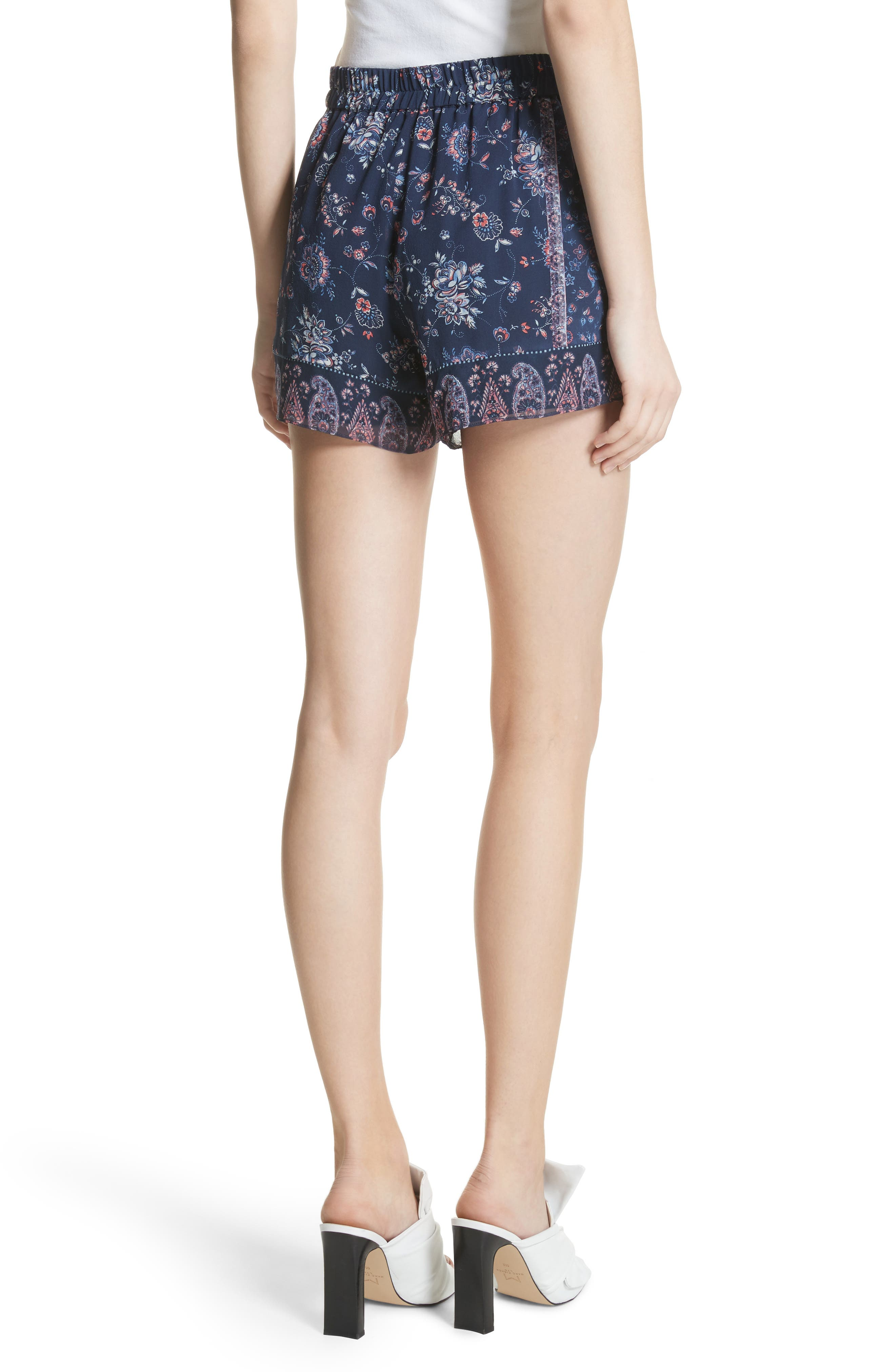 Ciri Floral Silk Shorts,                             Alternate thumbnail 2, color,                             Dark Navy