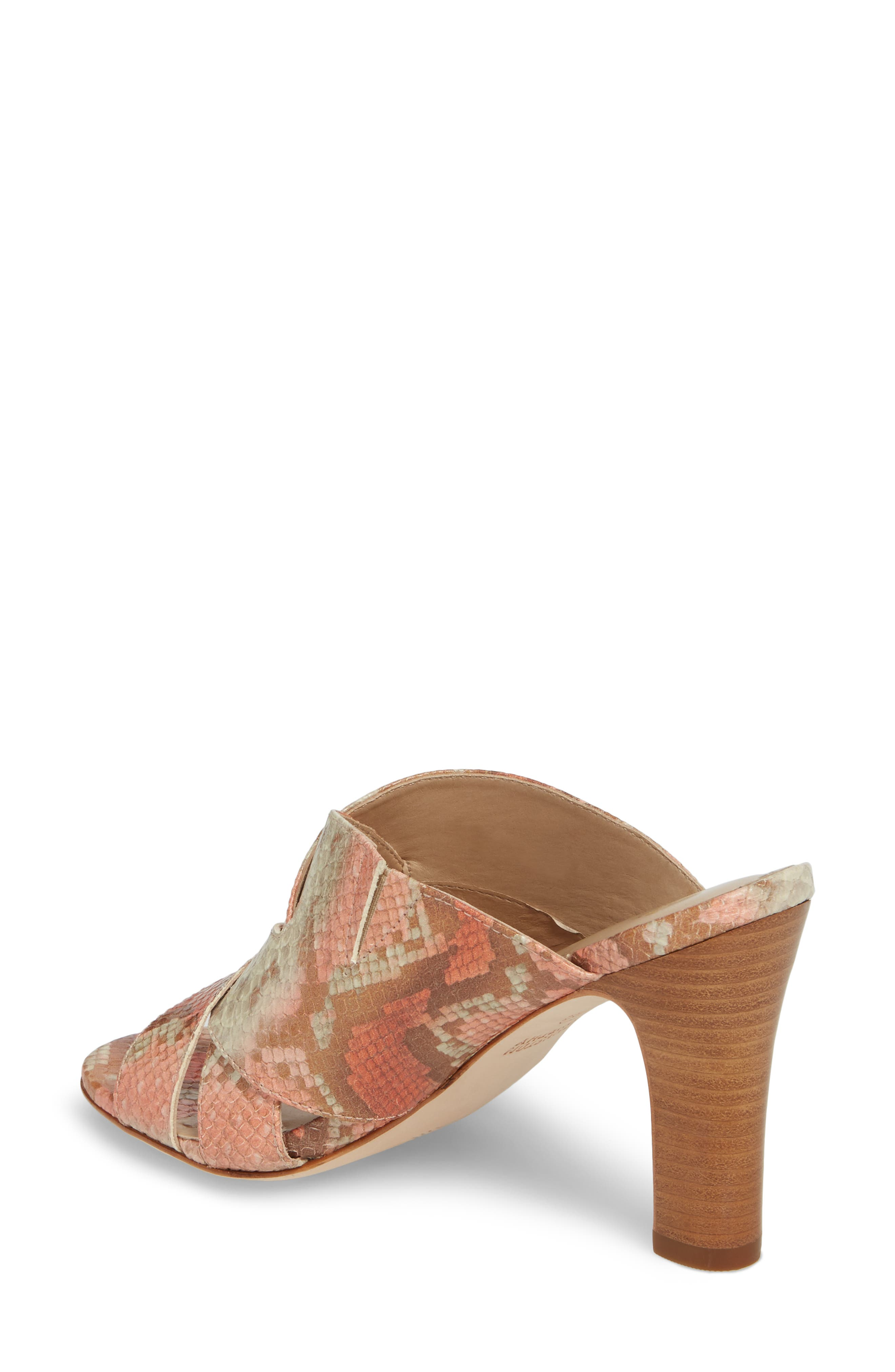 Carrie Mule Sandal,                             Alternate thumbnail 2, color,                             Coral Leather