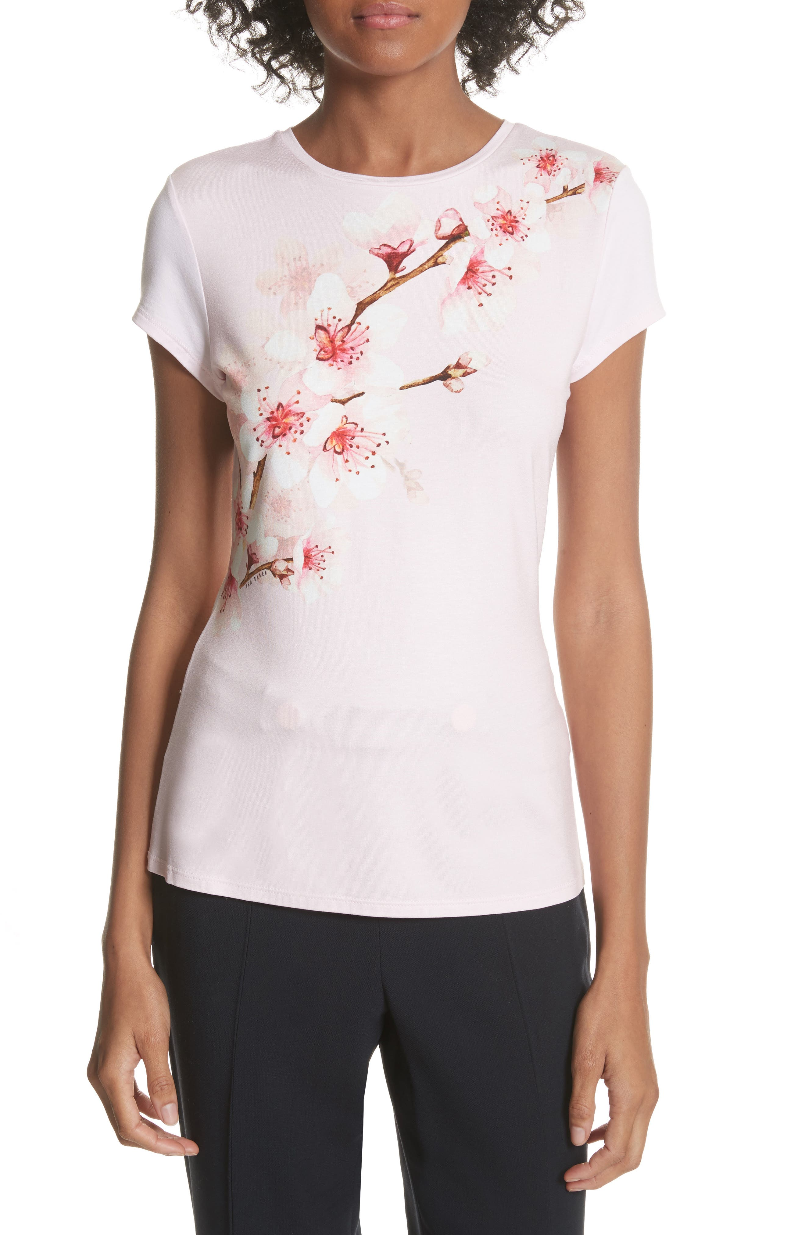 Soft Blossom Fitted Tee,                         Main,                         color, Light Pink