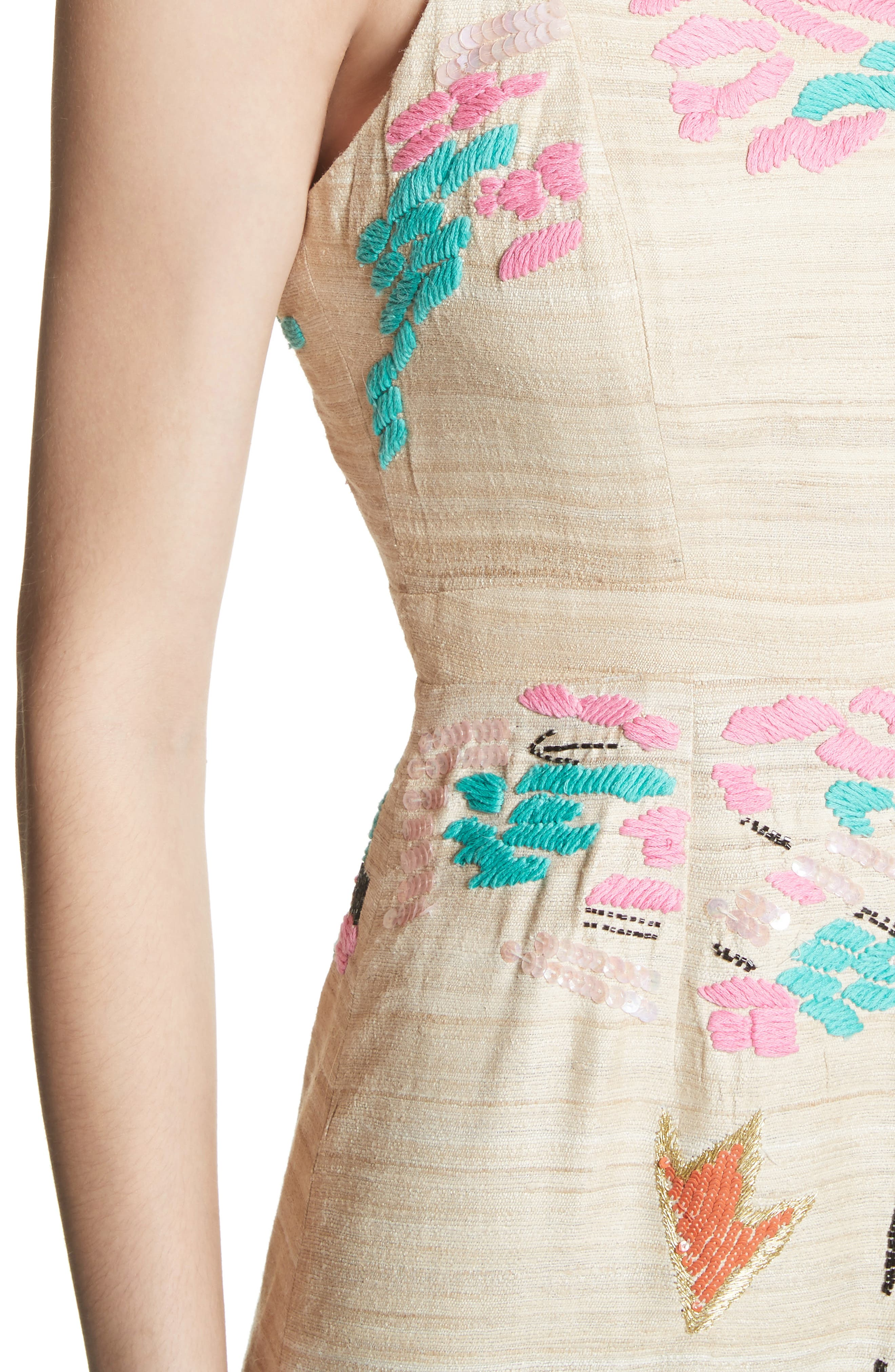 Tiered Silk Embroidered Maxi Dress,                             Alternate thumbnail 4, color,                             Raw Silk