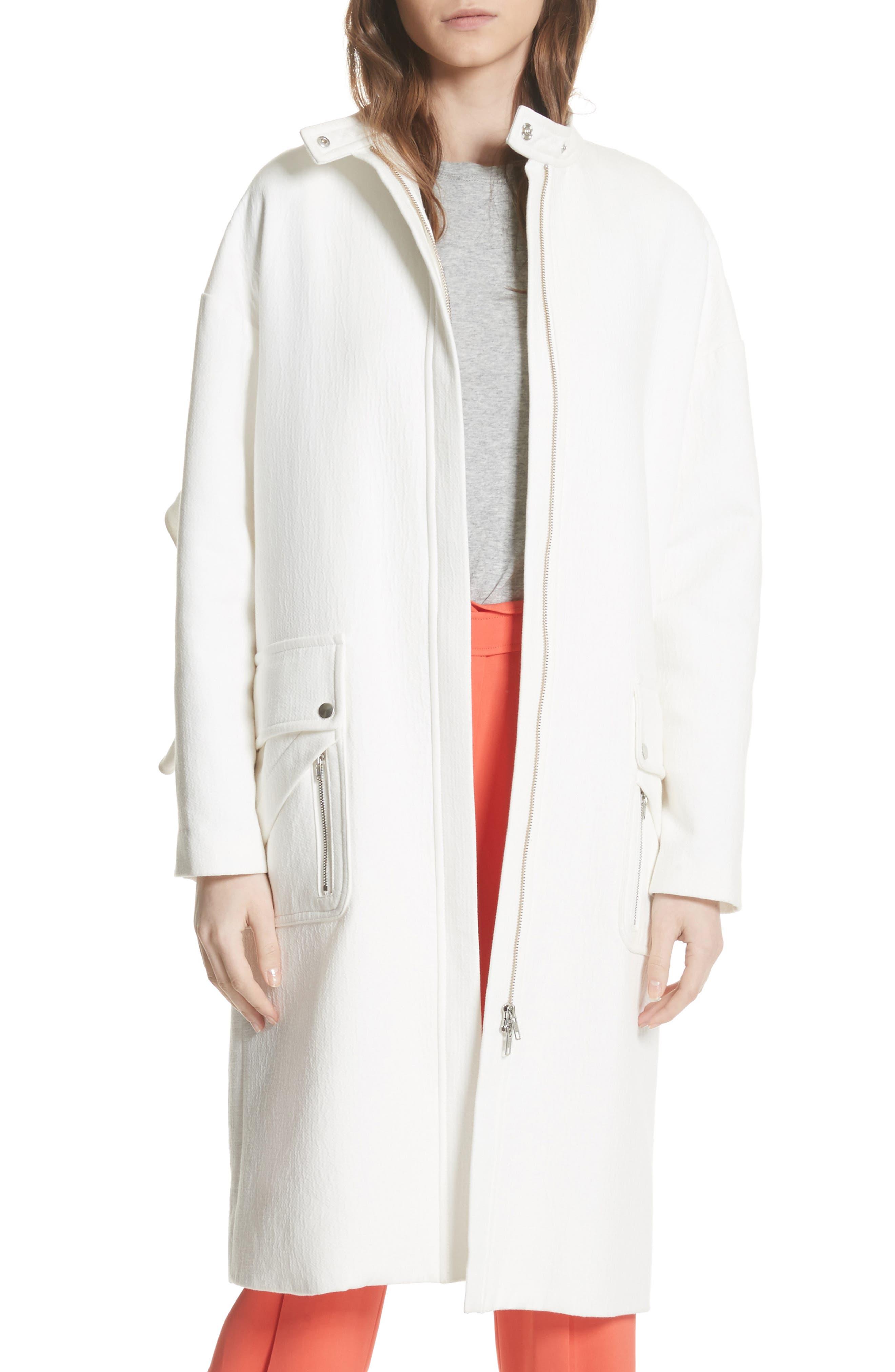Ruffle Sleeve Cotton Coat,                             Alternate thumbnail 5, color,                             Linen