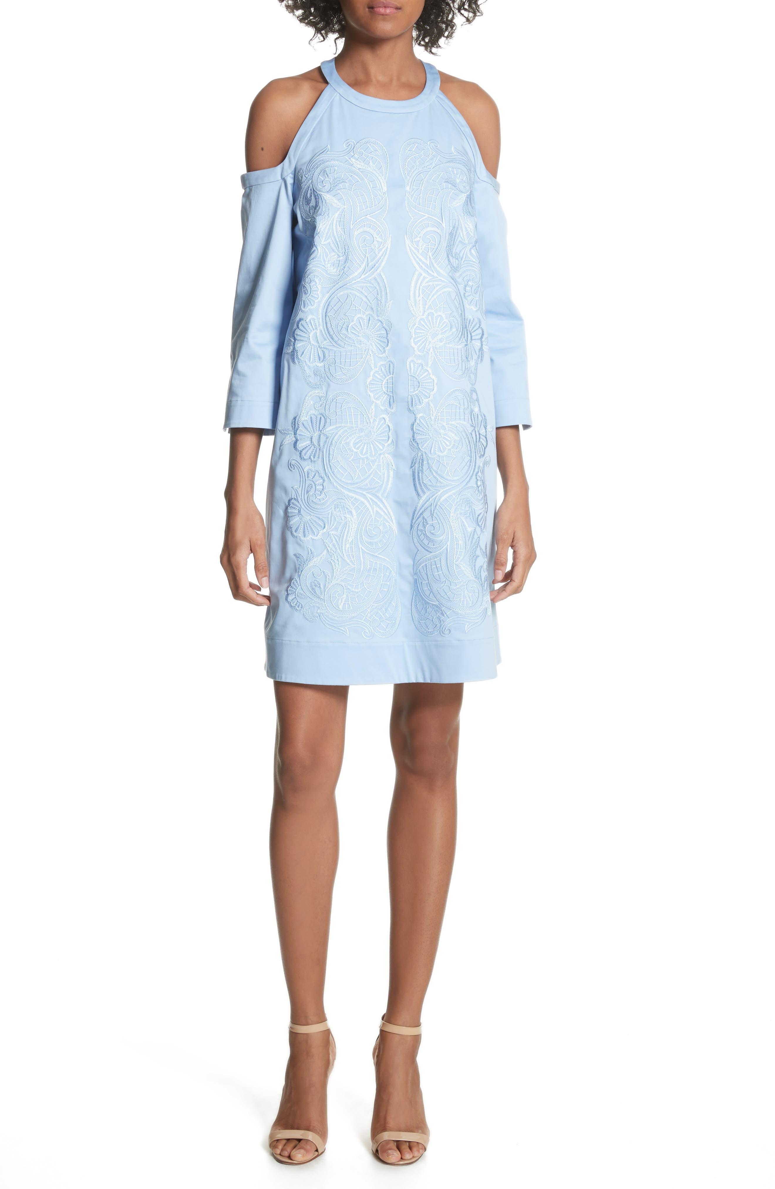 Cold Shoulder Shift Dress,                             Main thumbnail 1, color,                             Baby Blue