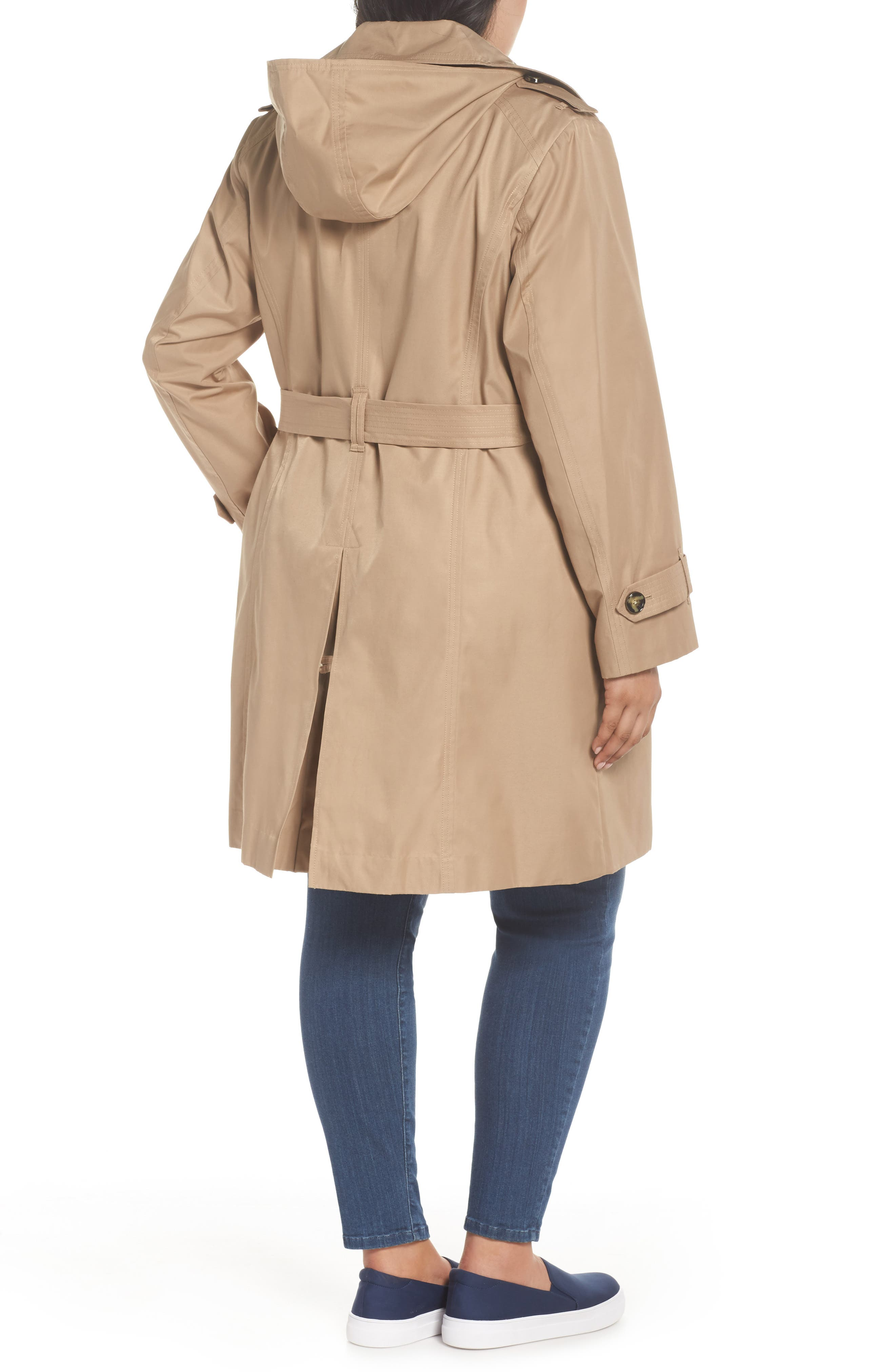 Hooded Double Breasted Trench Coat,                             Alternate thumbnail 2, color,                             Br Khaki